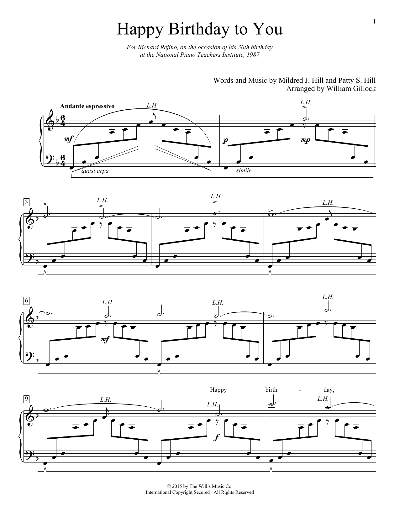 Partition piano happy birthday to you de william gillock for Piano piano facile