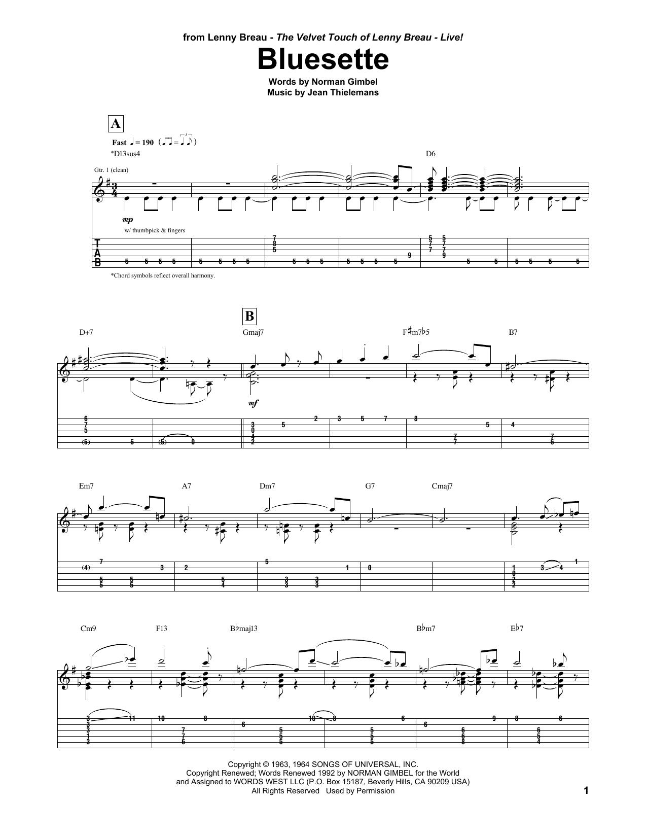 Tablature guitare Bluesette de Lenny Breau - Tablature Guitare