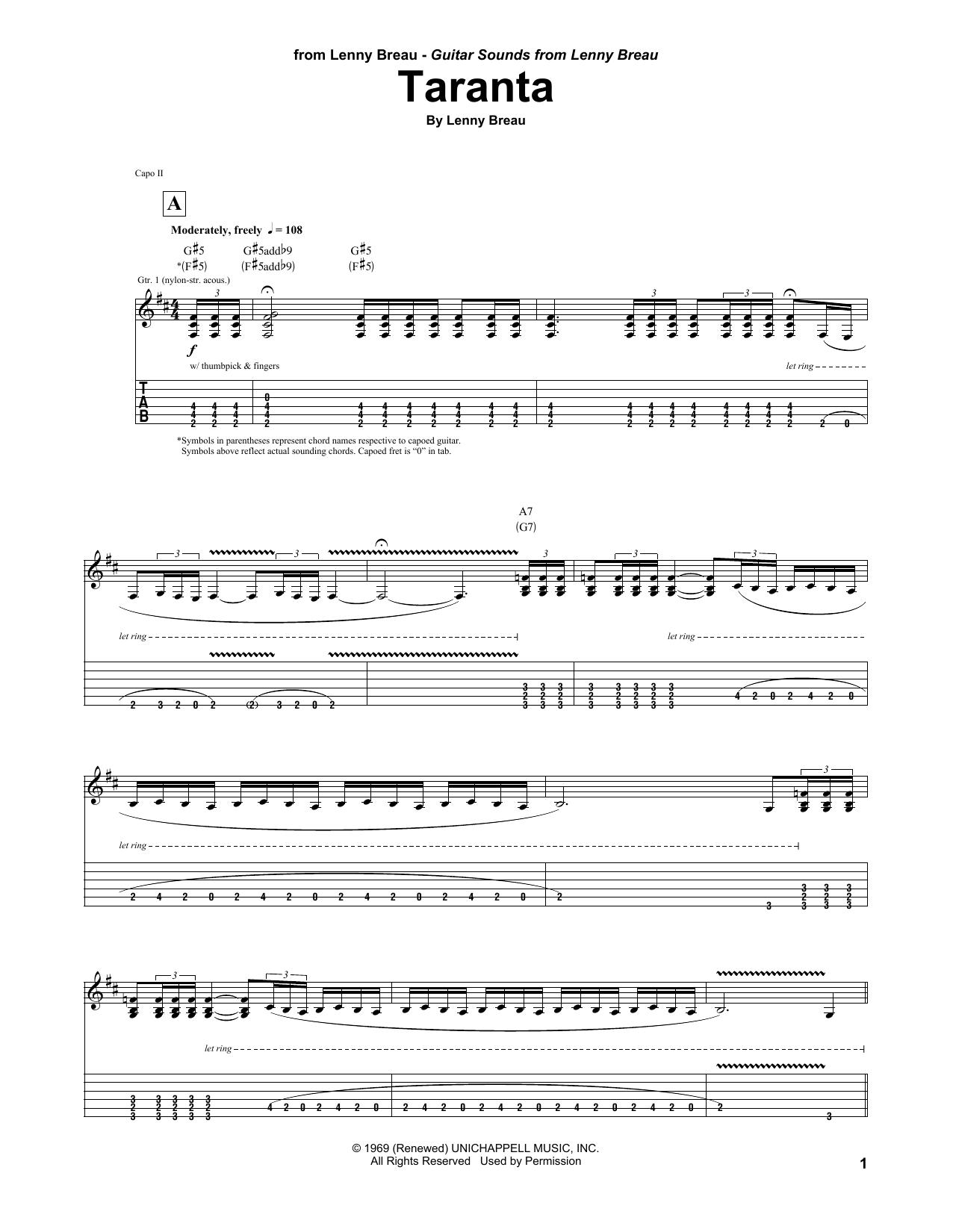 Tablature guitare Taranta de Lenny Breau - Tablature Guitare