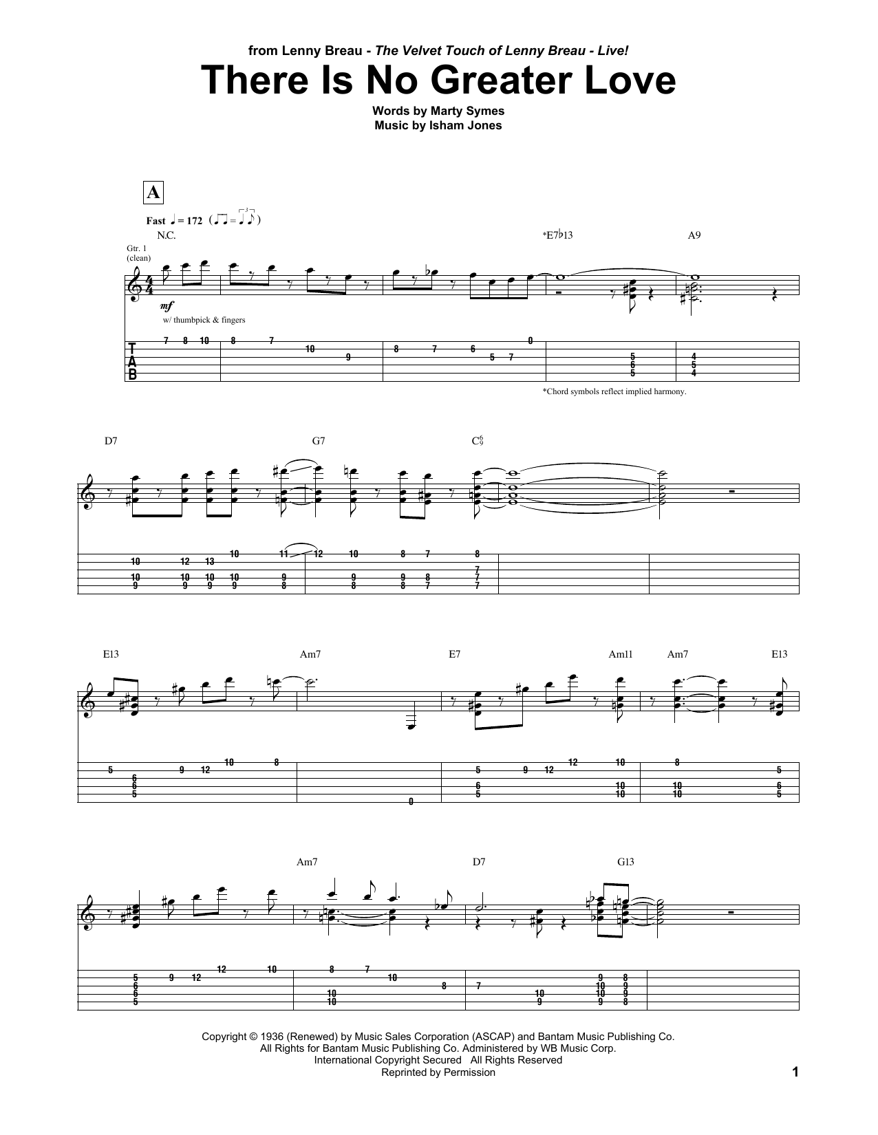 Tablature guitare There Is No Greater Love de Lenny Breau - Tablature Guitare