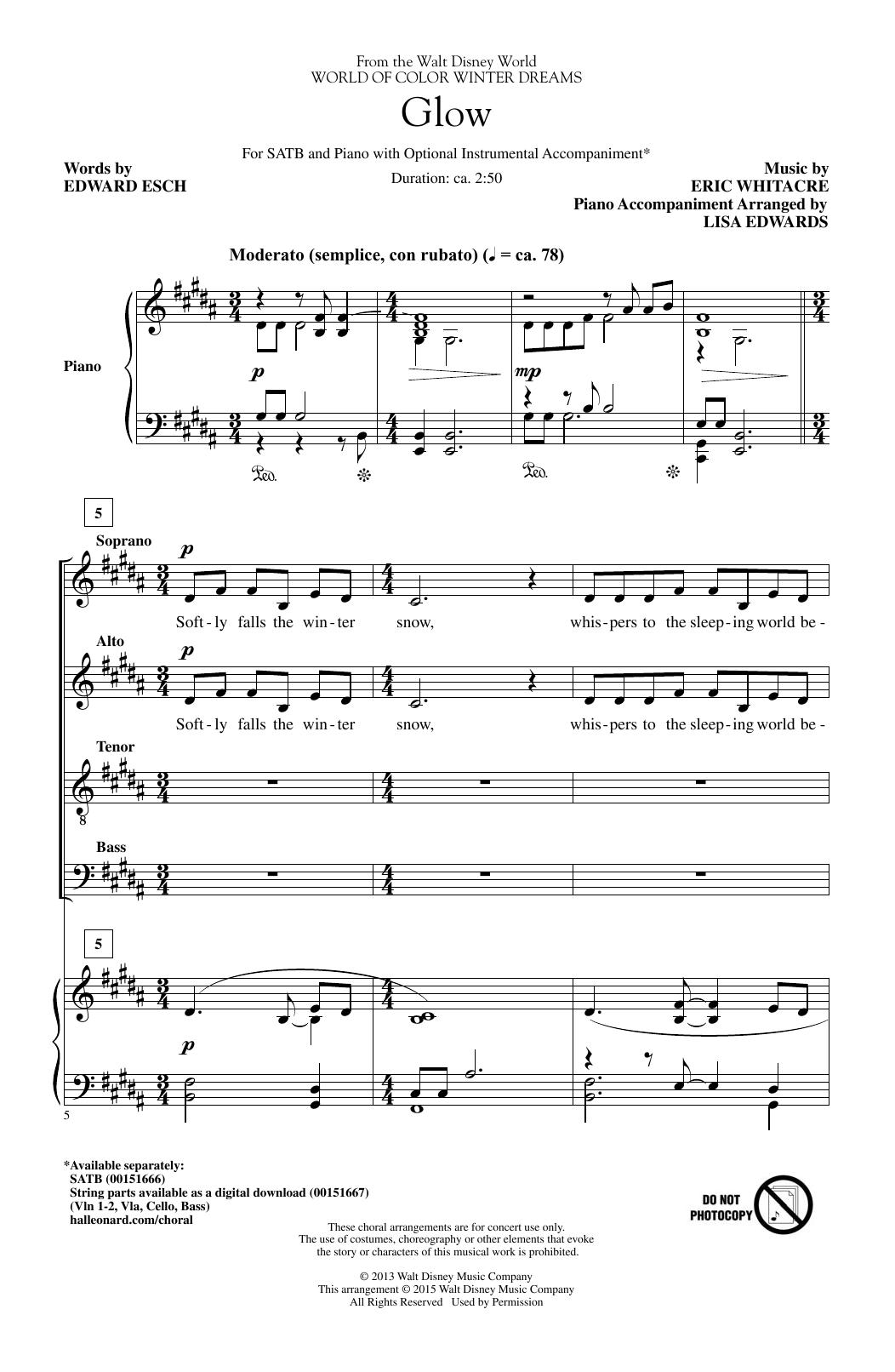 Partition chorale Glow de Eric Whitacre - SATB