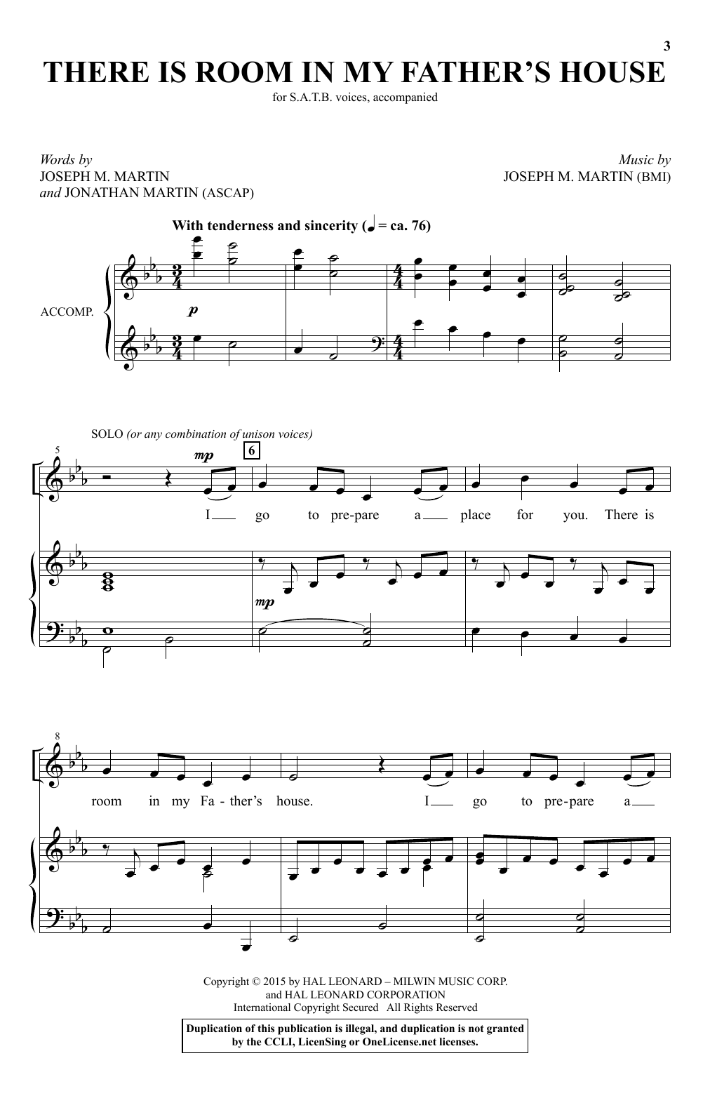 Partition chorale There Is Room In My Father's House de Joseph M. Martin - SATB
