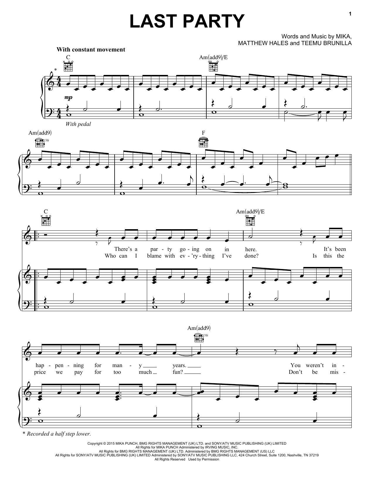 Partition piano Last Party de Mika - Piano Voix Guitare (Mélodie Main Droite)