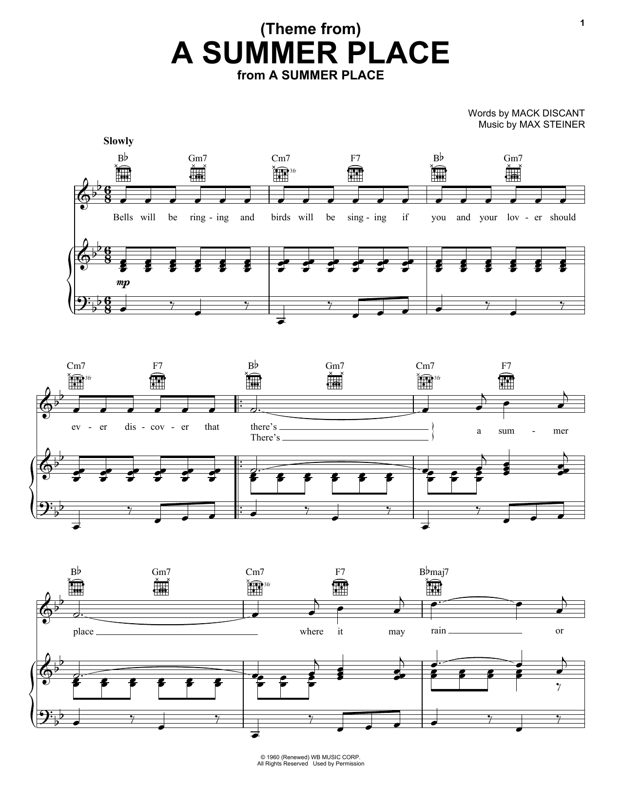 Partition piano (Theme From) A Summer Place de Max Steiner - Piano Voix Guitare (Mélodie Main Droite)