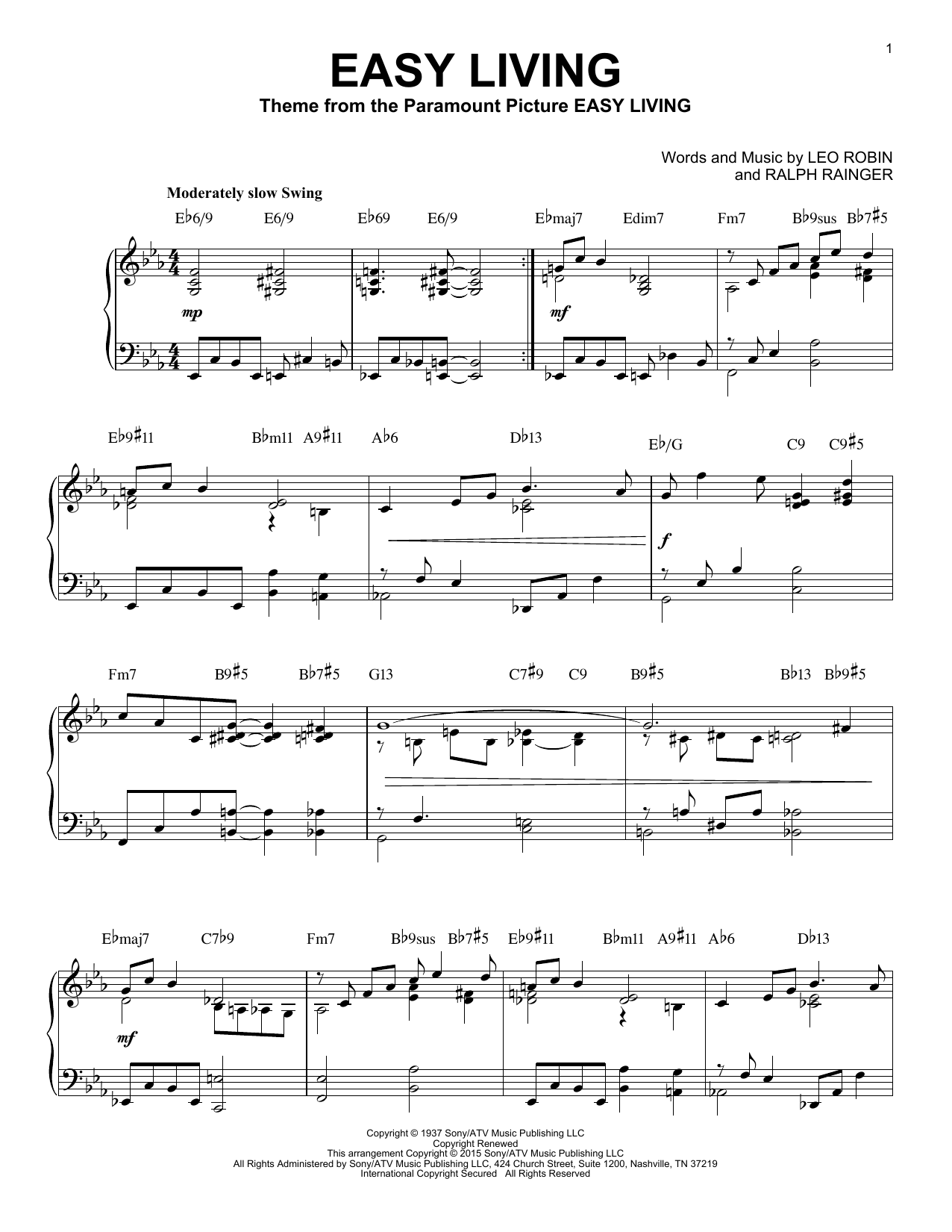 Easy Living Piano Sheet Music By Billie Holiday Solo Piano
