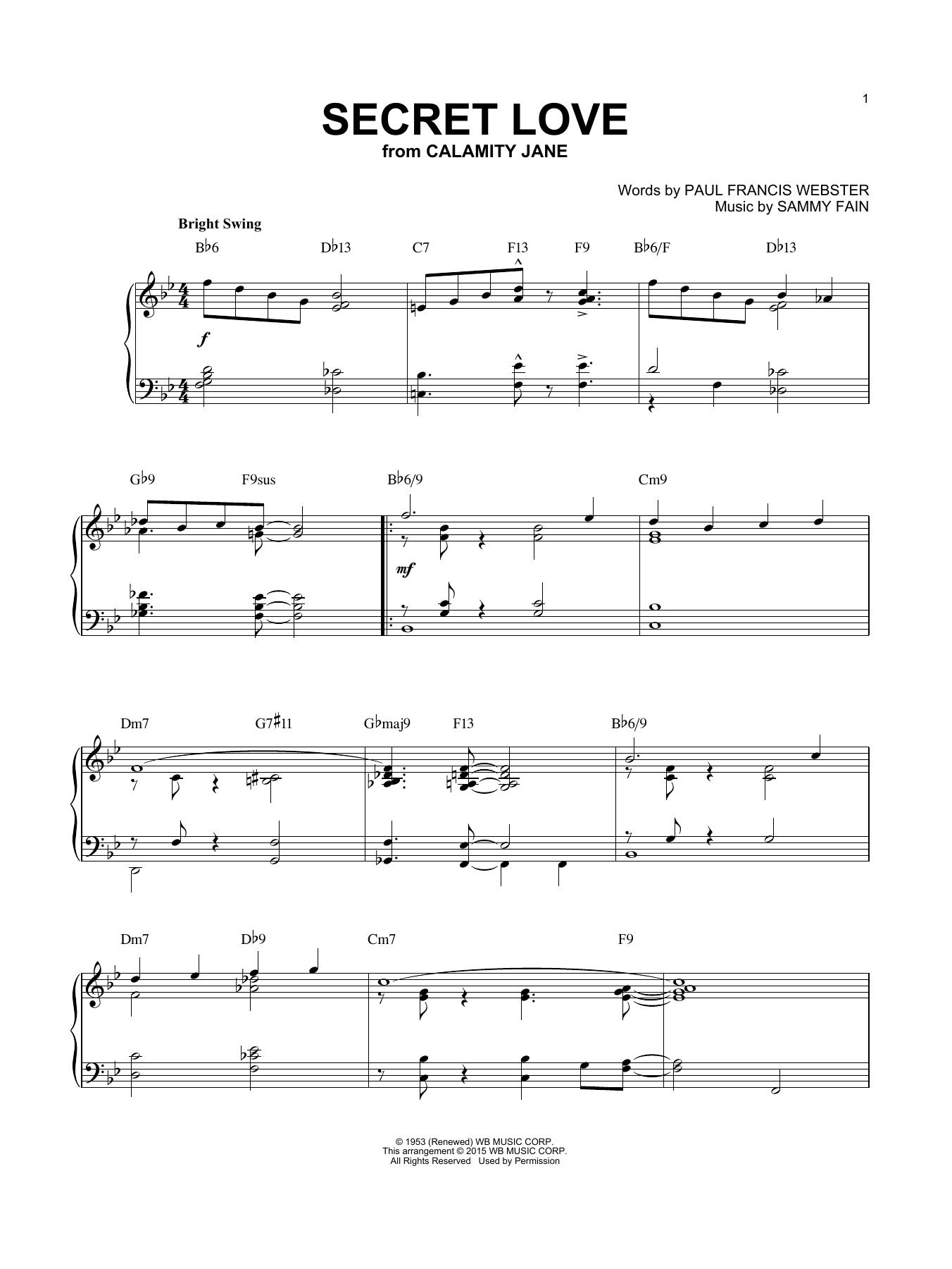 Partition piano Secret Love de Paul Francis Webster - Piano Solo