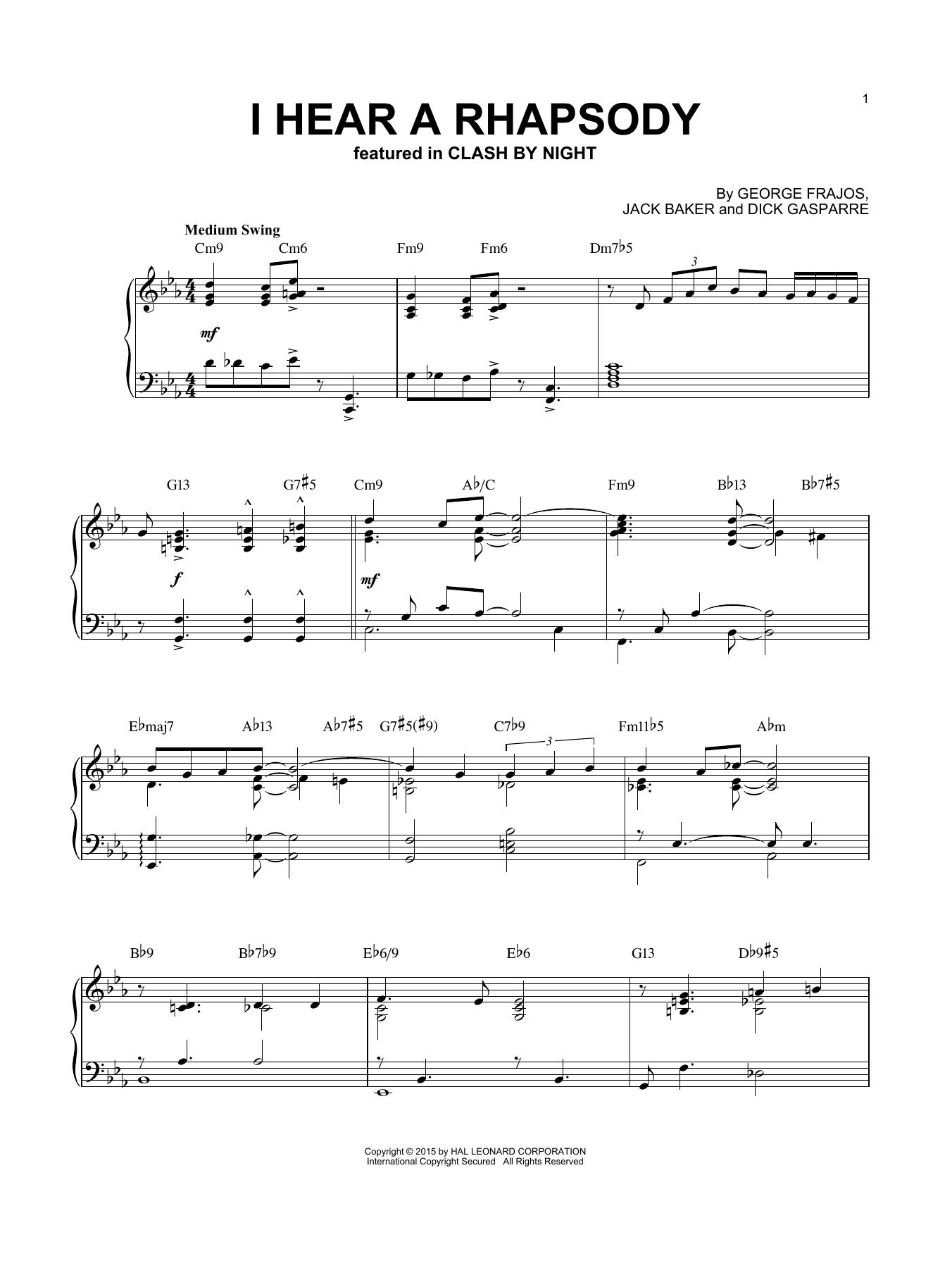 Partition piano I Hear A Rhapsody de Dick Gasparre - Piano Solo