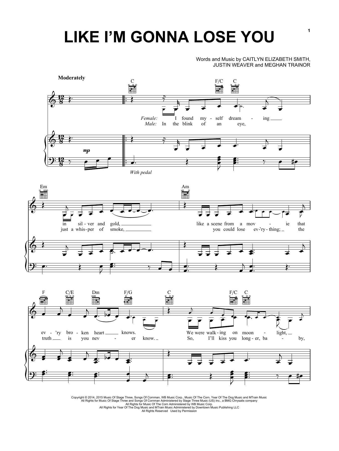 Partition piano Like I'm Gonna Lose You de Meghan Trainor - Piano Voix Guitare (Mélodie Main Droite)