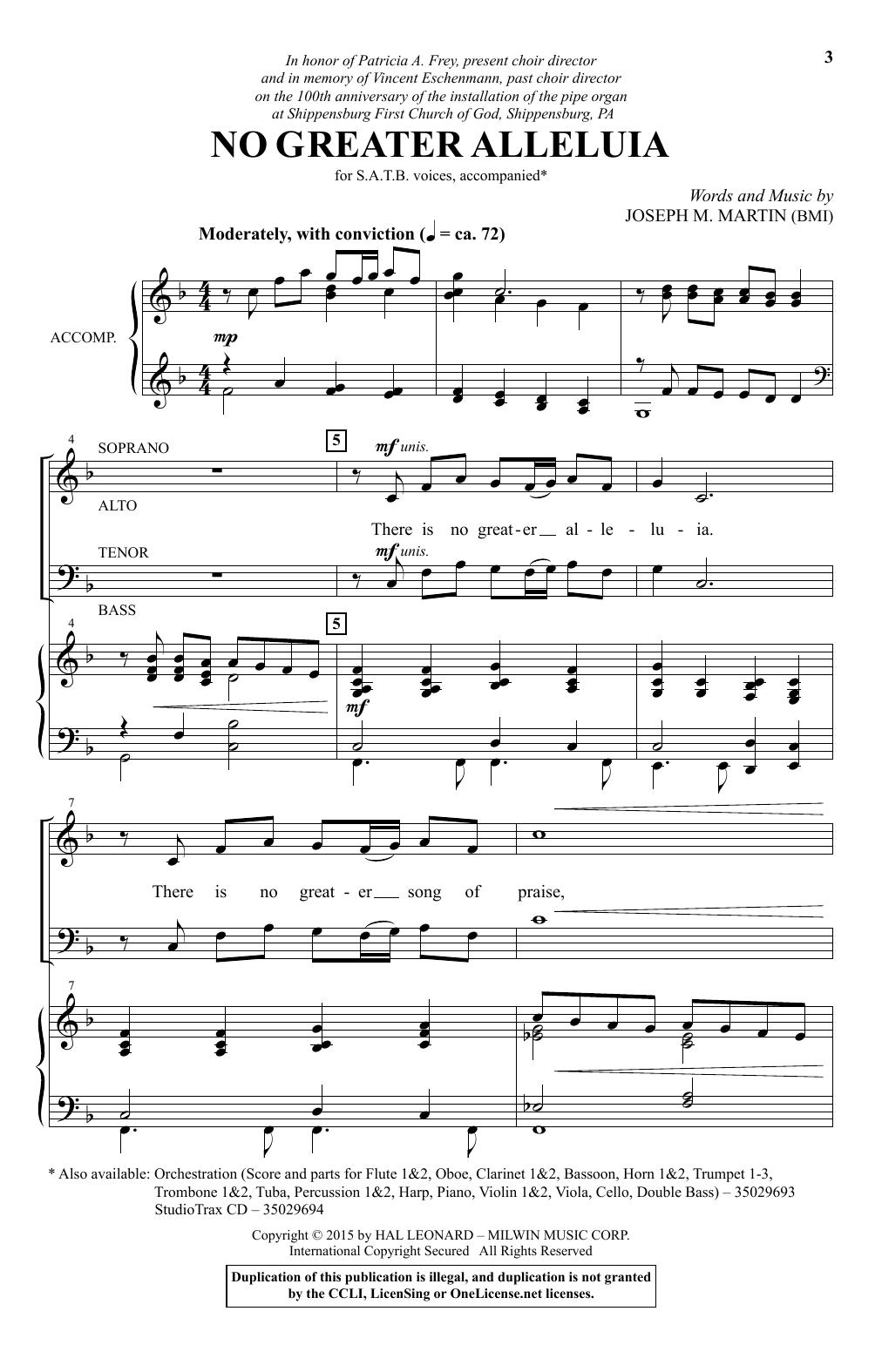 Partition chorale No Greater Alleluia de Joseph M. Martin - SATB