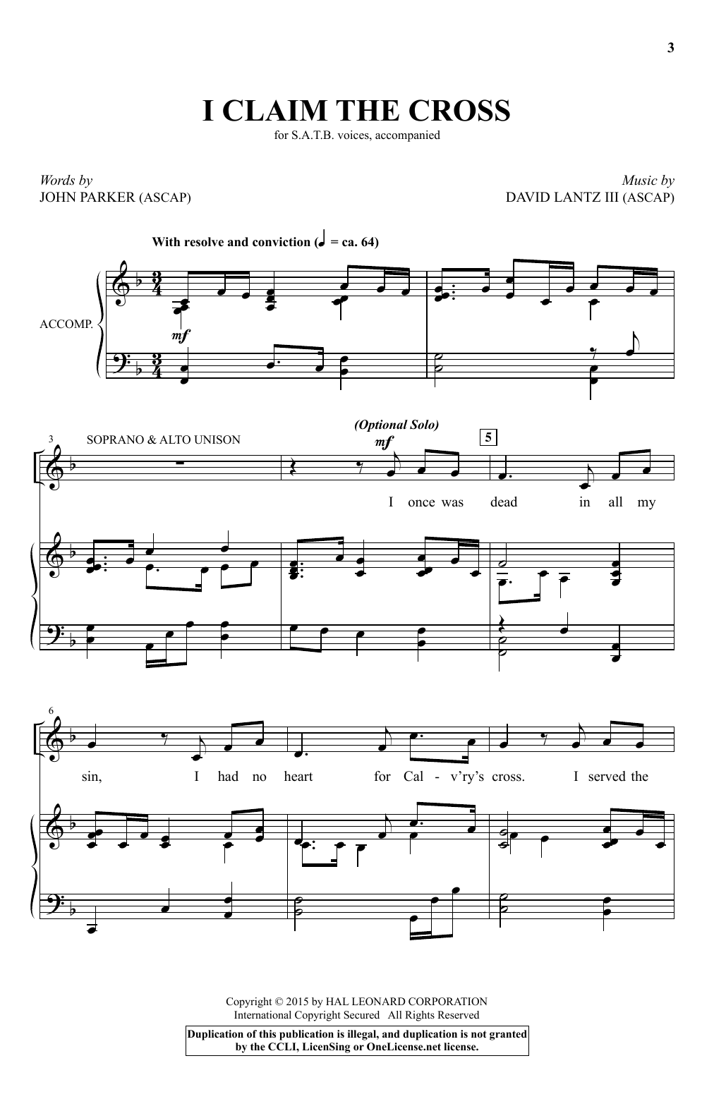 Partition chorale I Claim The Cross de David Lantz III - SATB