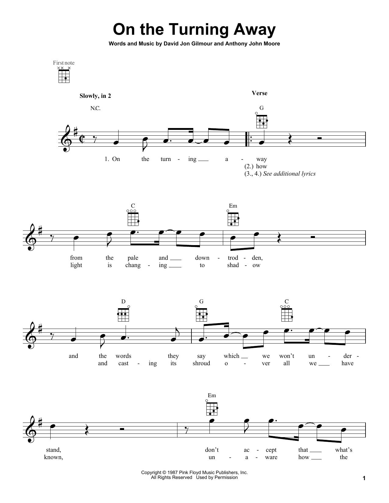 Tablature guitare On The Turning Away de Pink Floyd - Ukulele