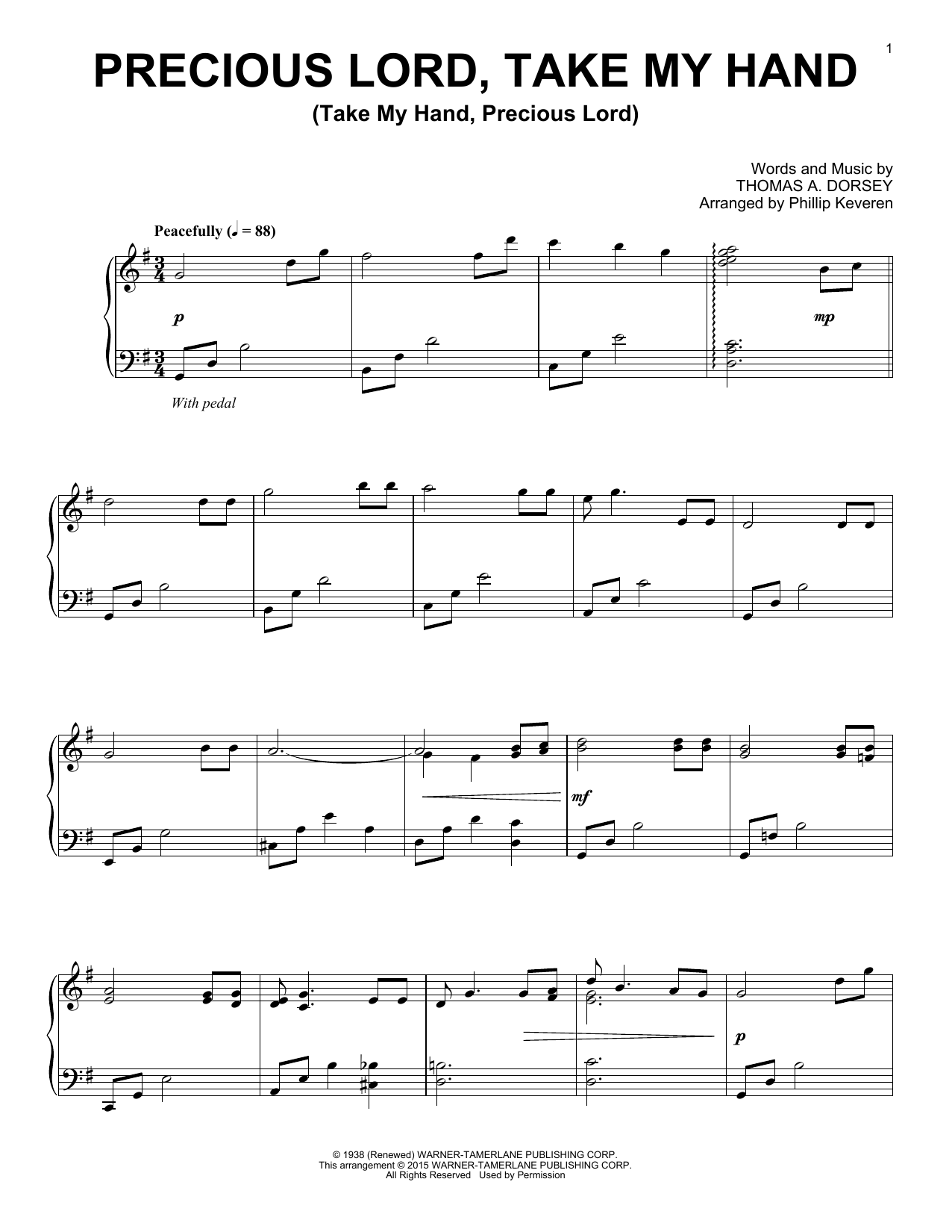 Partition piano Precious Lord, Take My Hand (Take My Hand, Precious Lord) de Phillip Keveren - Piano Solo