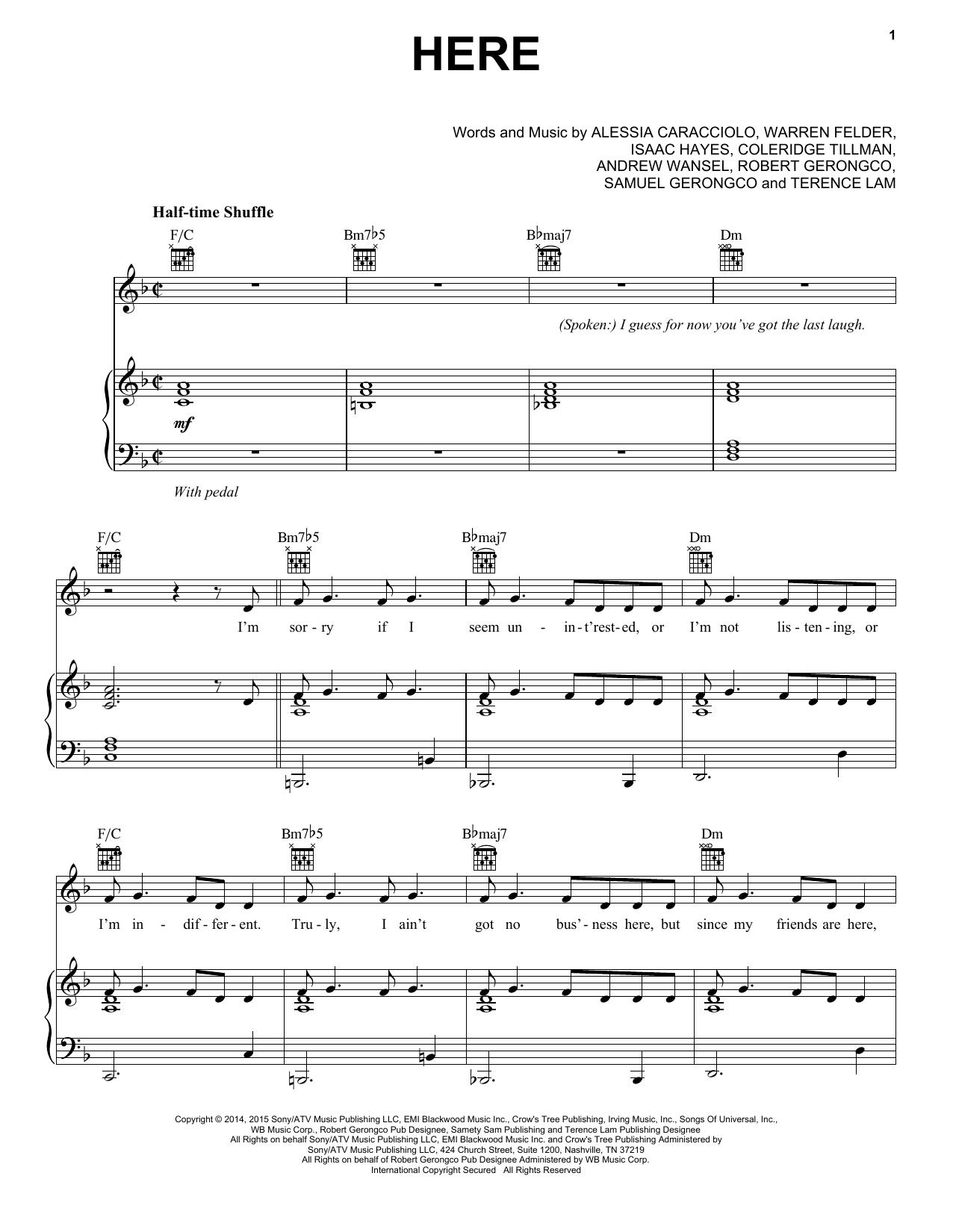 Partition piano Here de Alessia Cara - Piano Voix Guitare (Mélodie Main Droite)