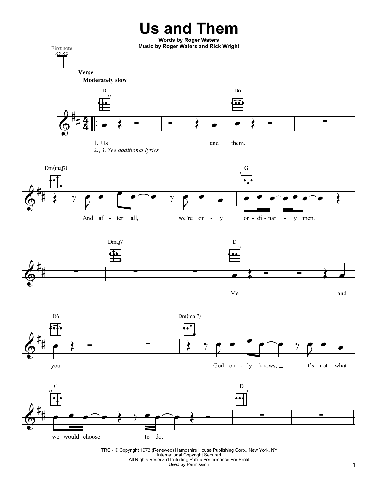 Tablature guitare Us And Them de Pink Floyd - Ukulele