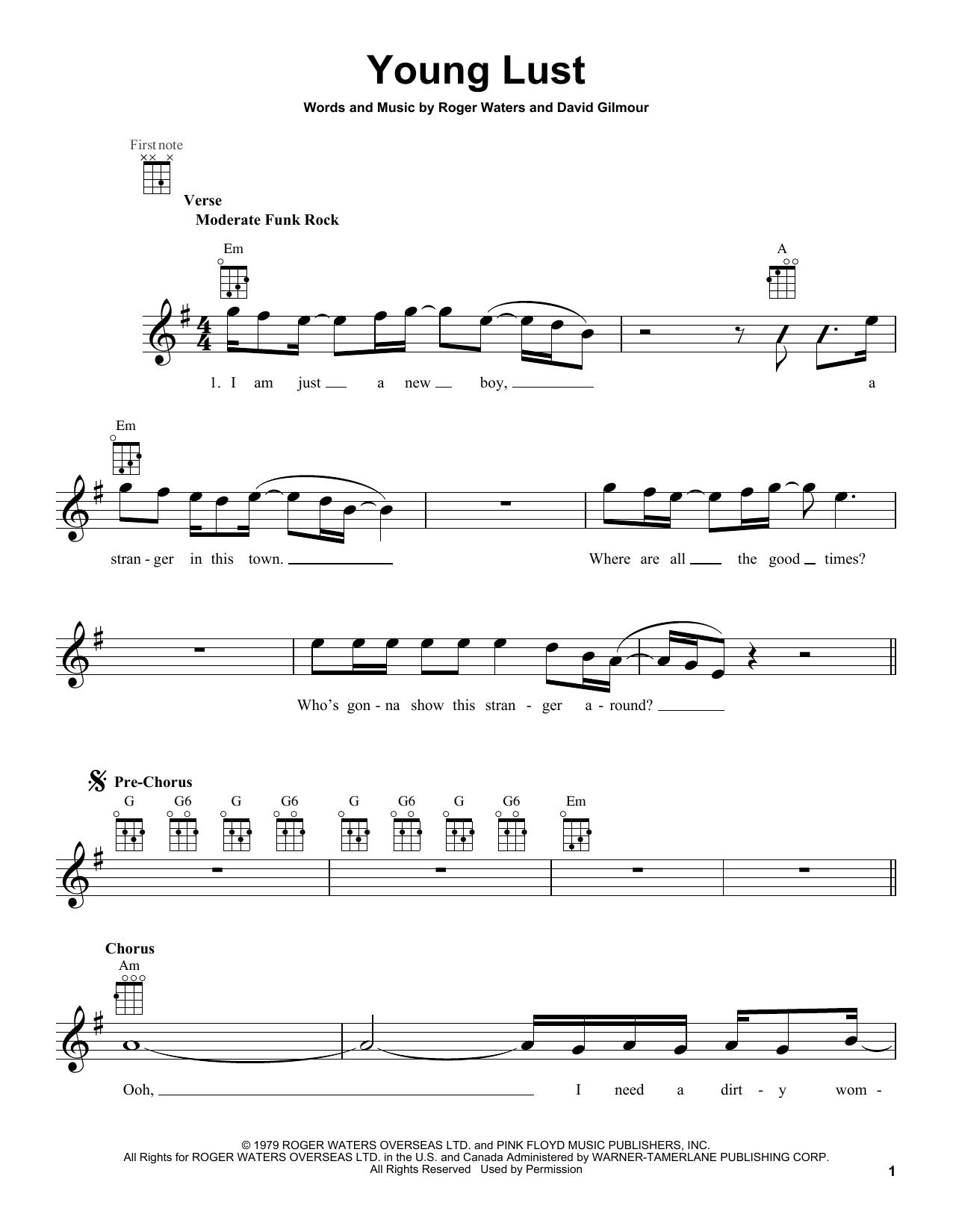 Tablature guitare Young Lust de Pink Floyd - Ukulele