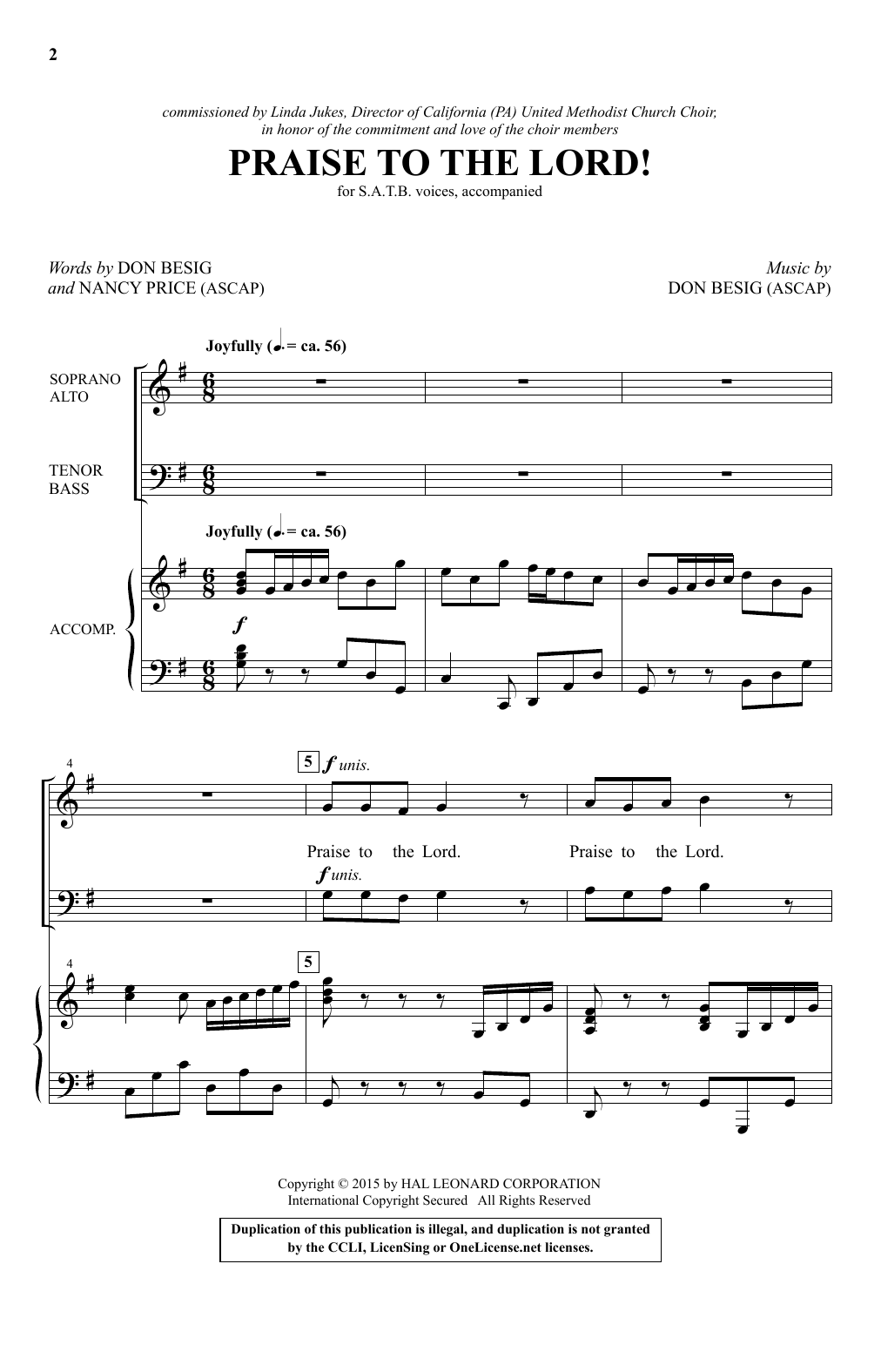 Partition chorale Praise To The Lord! de Don Besig - SATB