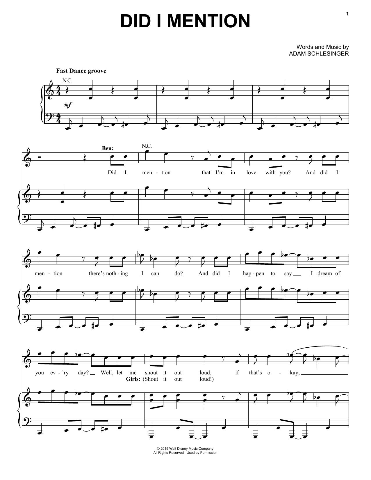 Partition piano Did I Mention de Adam Schlesinger - Piano Voix Guitare (Mélodie Main Droite)