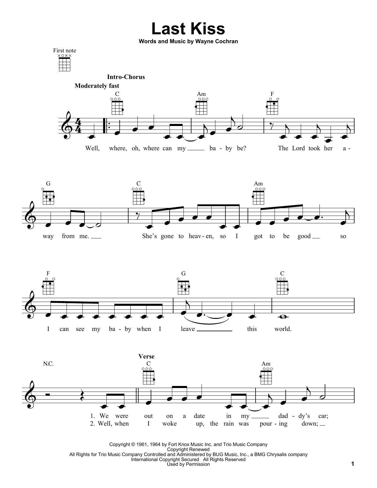Tablature guitare Last Kiss de Wayne Cochran - Ukulele