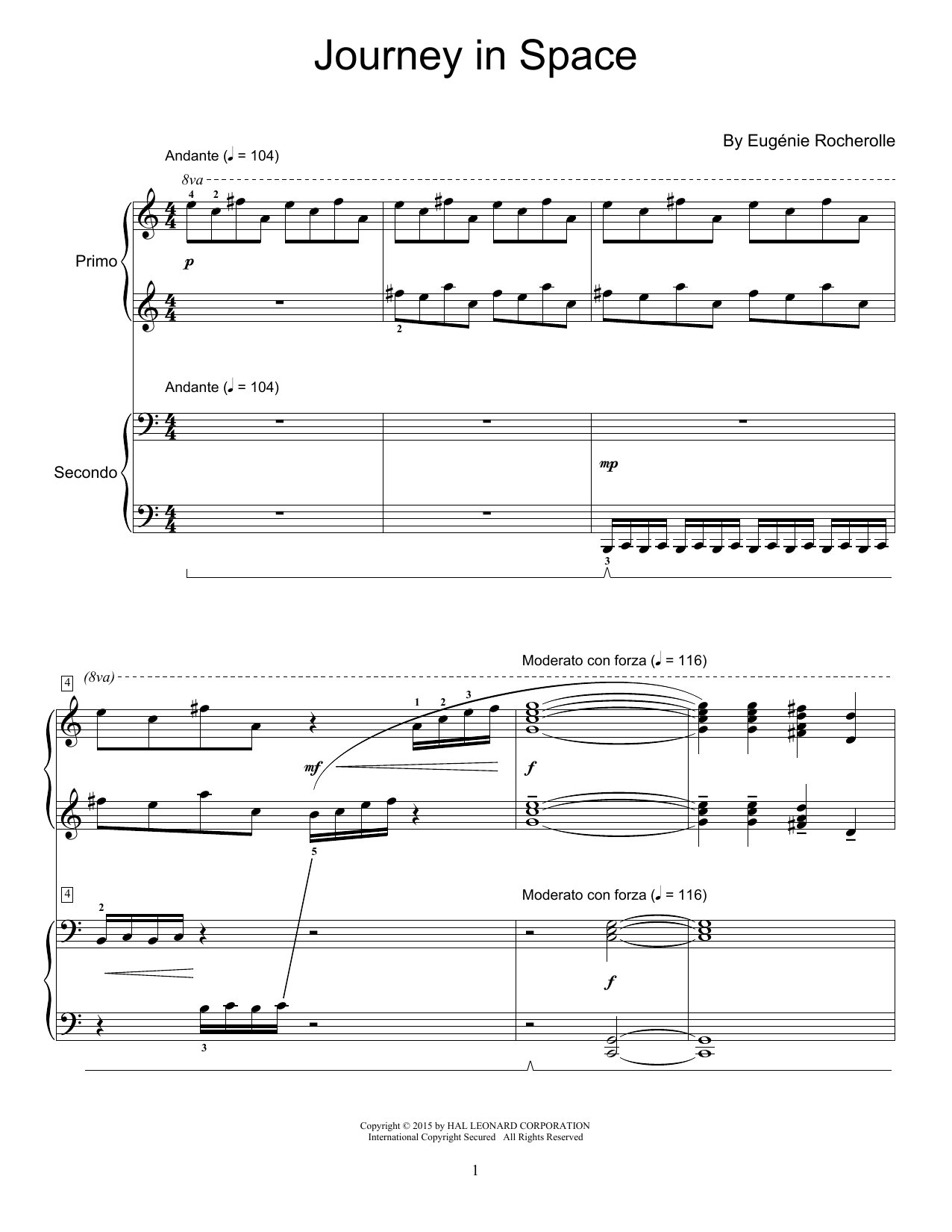 Partition piano Journey In Space de Eugenie Rocherolle - 4 mains