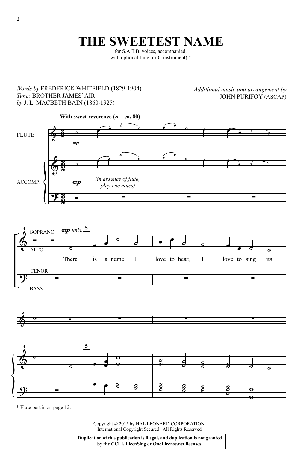 Partition autre The Sweetest Name de John Purifoy - SATB