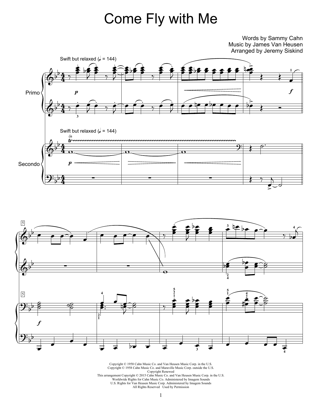 Partition piano Come Fly With Me de Jeremy Siskind - 4 mains