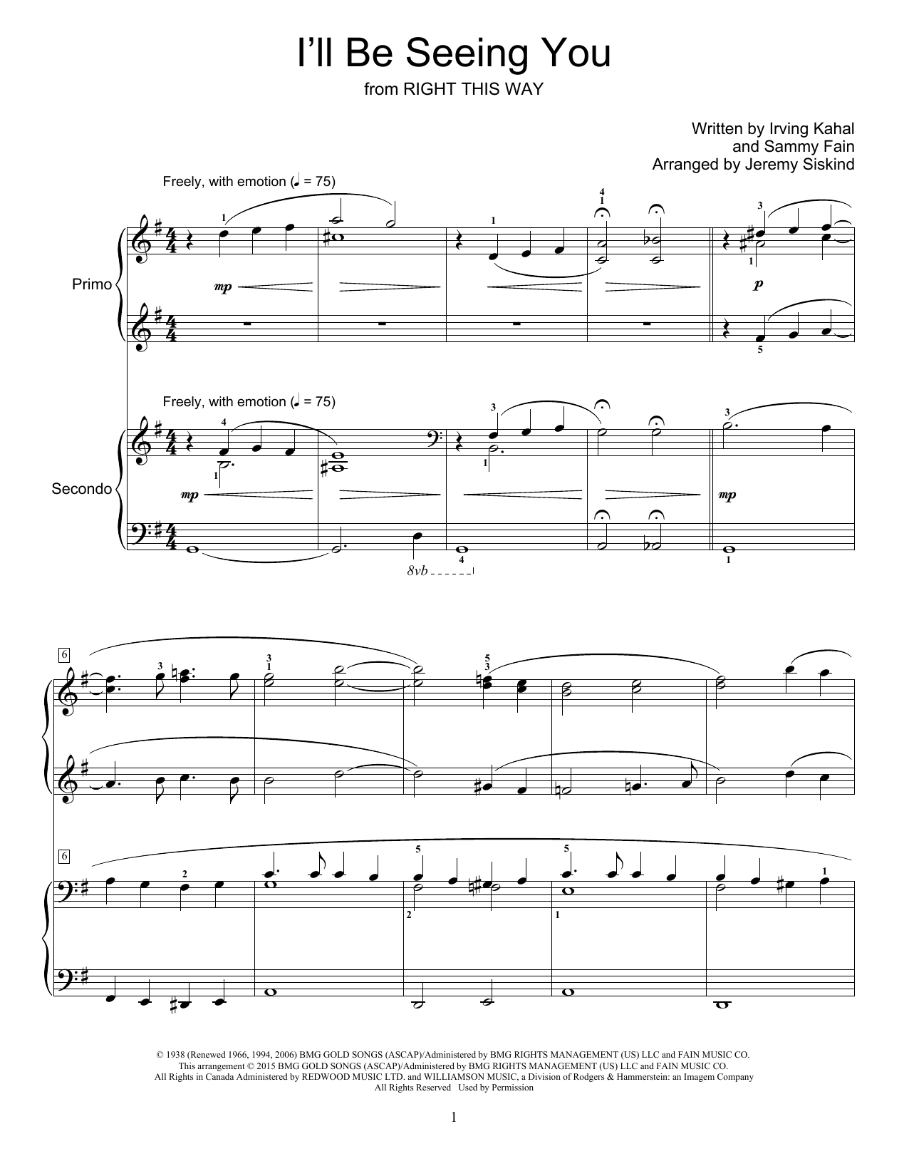 Partition piano I'll Be Seeing You de Jeremy Siskind - 4 mains