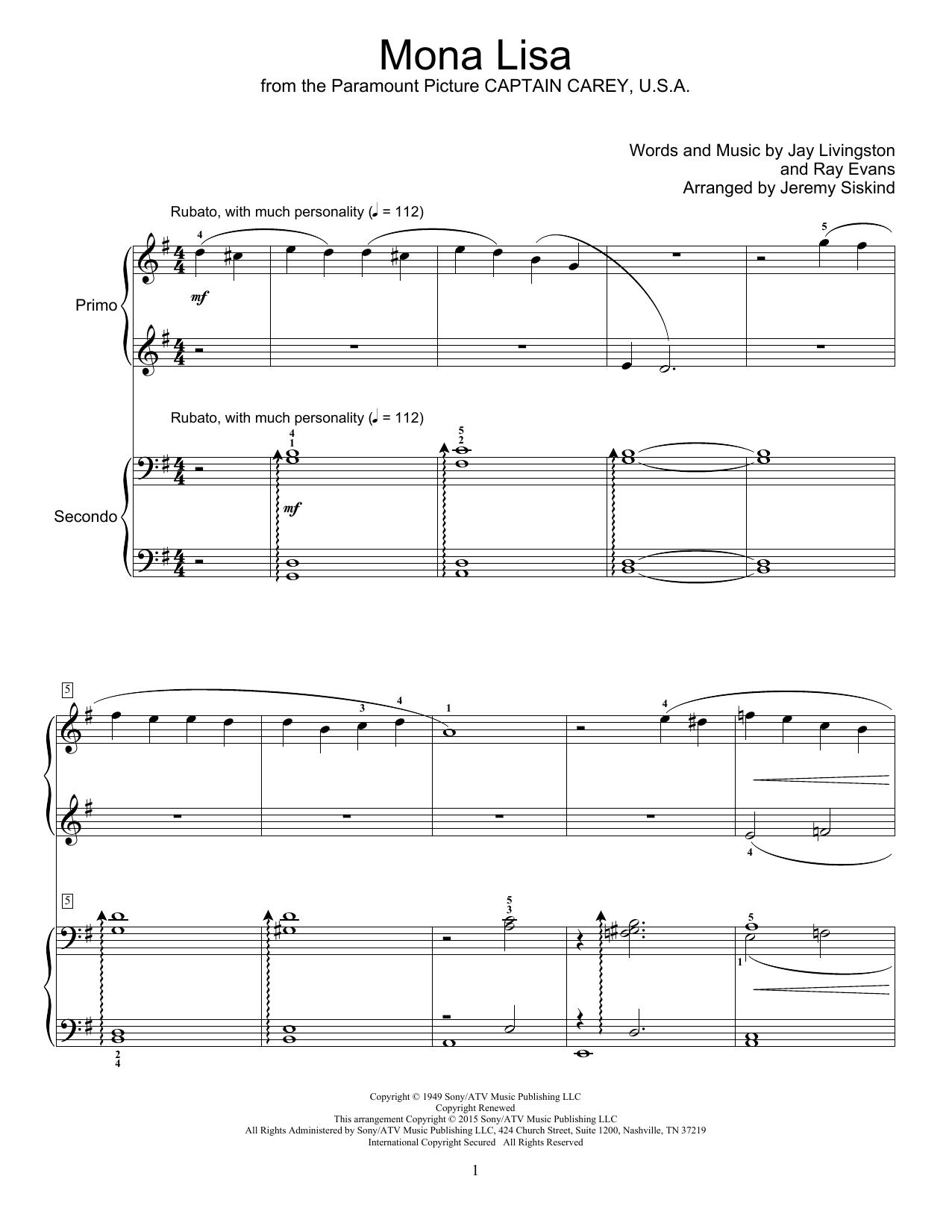 Partition piano Mona Lisa de Nat King Cole - 4 mains