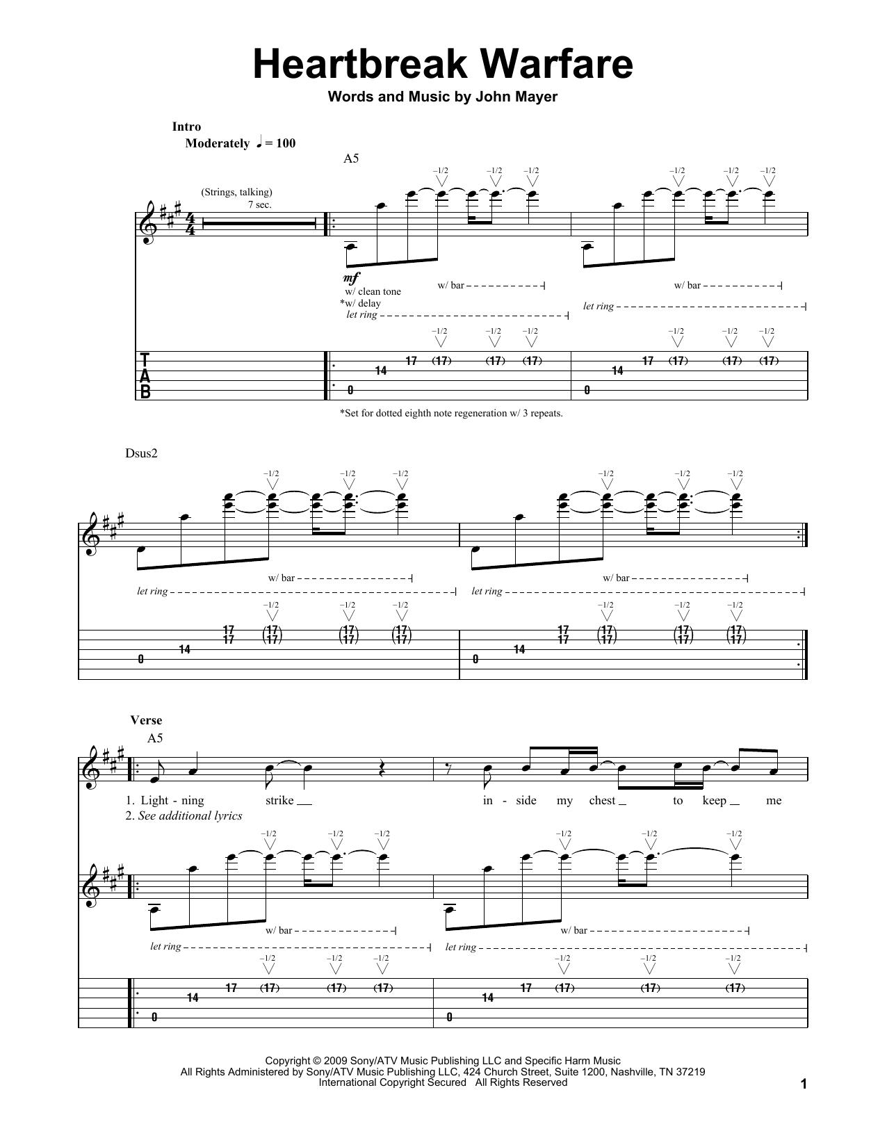 Tablature guitare Heartbreak Warfare de John Mayer - Tablature Guitare