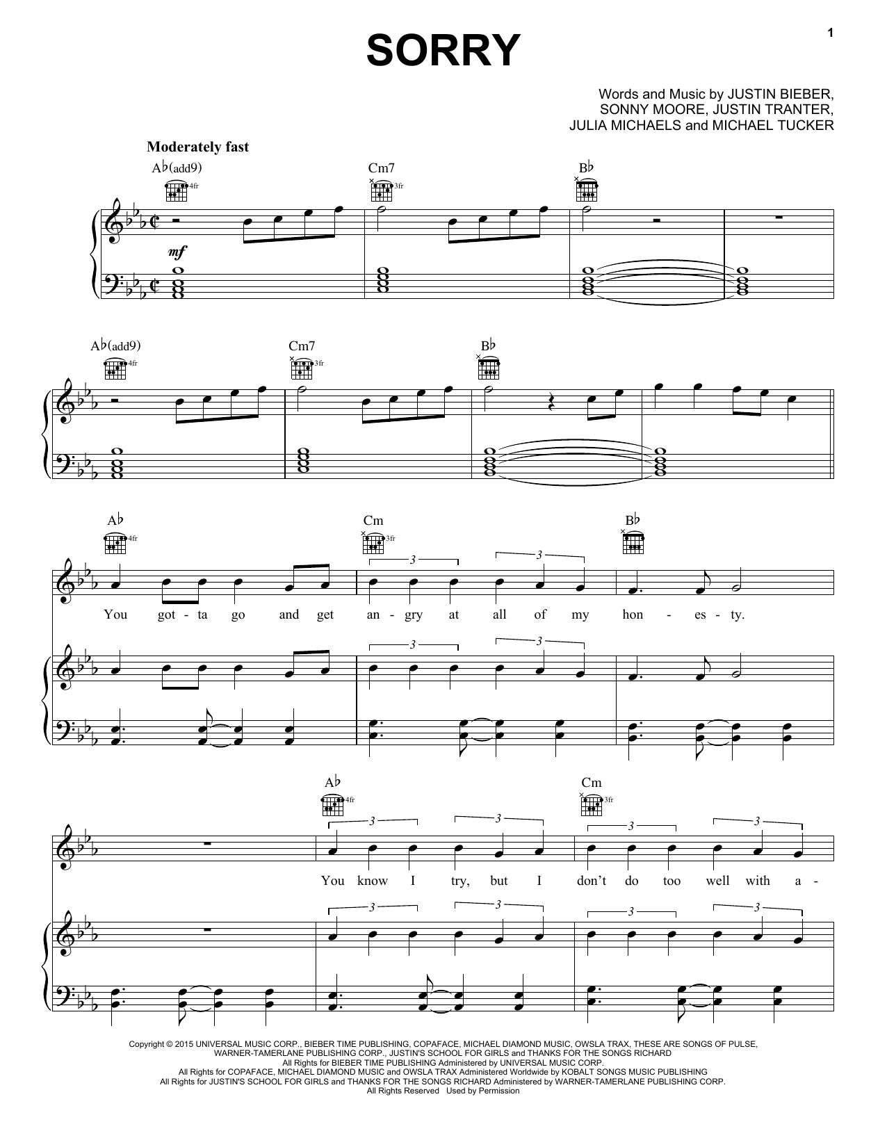 Sorry sheet music by Justin Bieber (Piano, Vocal u0026 Guitar (Right-Hand Melody) u2013 162582)