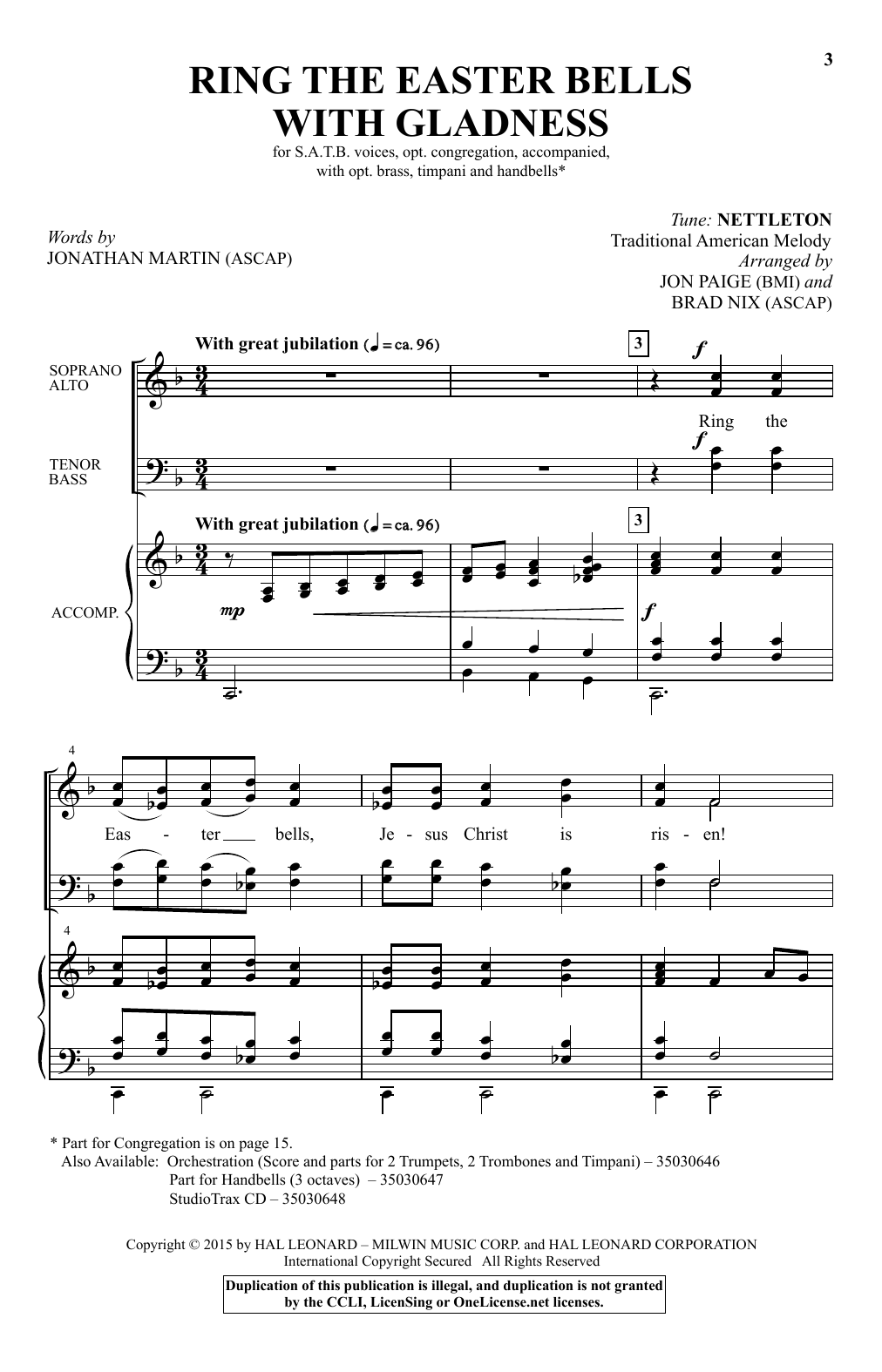 Partition chorale Ring The Easter Bells With Gladness de Jon Paige - SATB