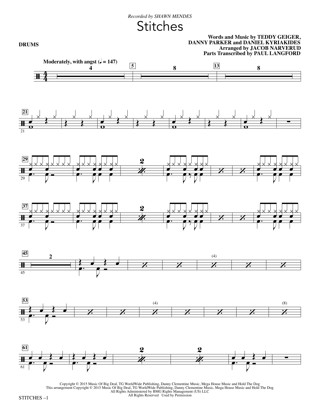 Stitches - Drum Set : Sheet Music Direct