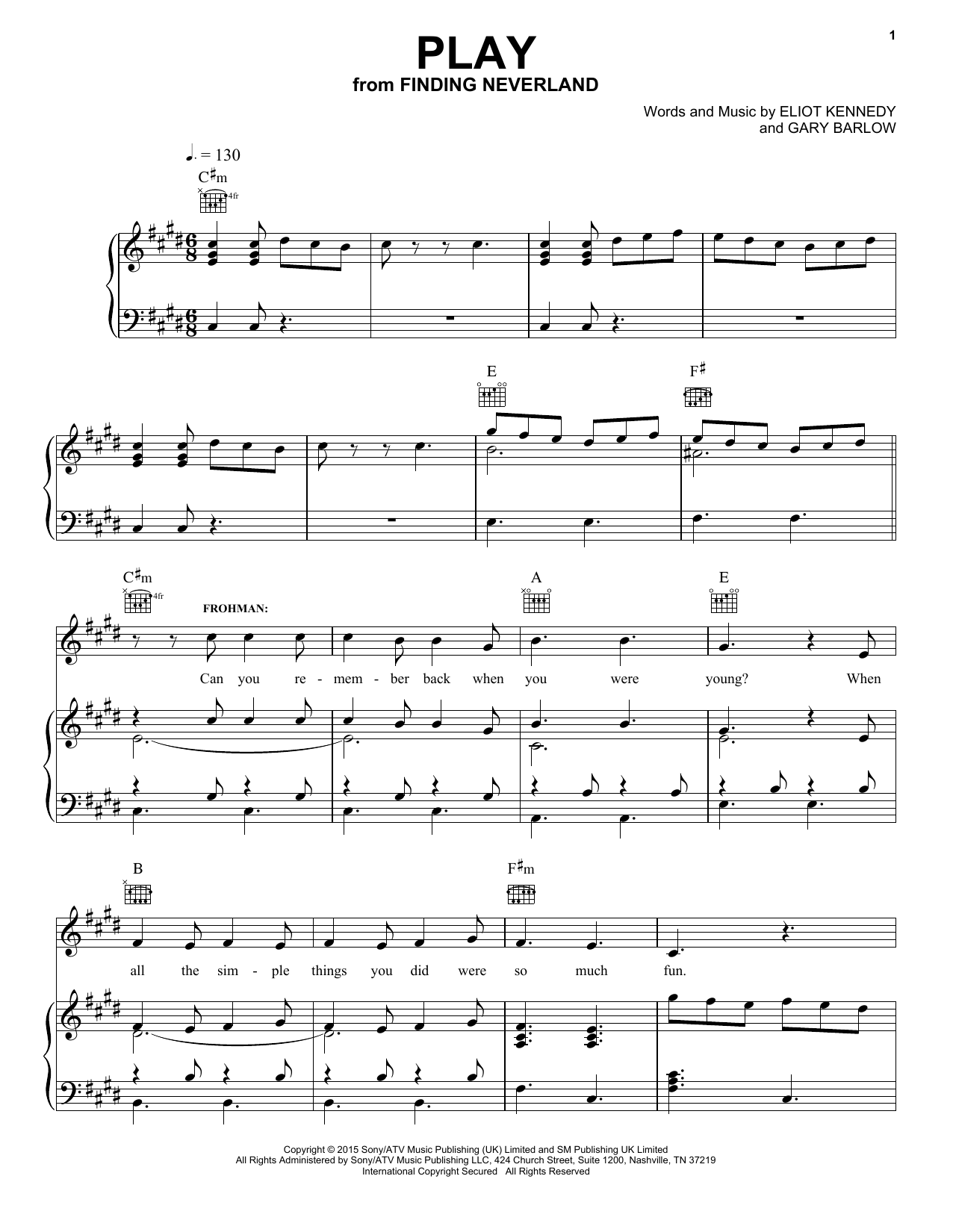 Partition piano Play (from 'Finding Neverland') de Gary Barlow & Eliot Kennedy - Piano Voix Guitare (Mélodie Main Droite)