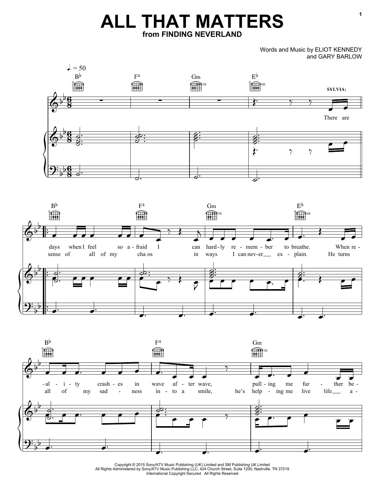 Partition piano All That Matters de Eliot Kennedy - Piano Voix Guitare (Mélodie Main Droite)