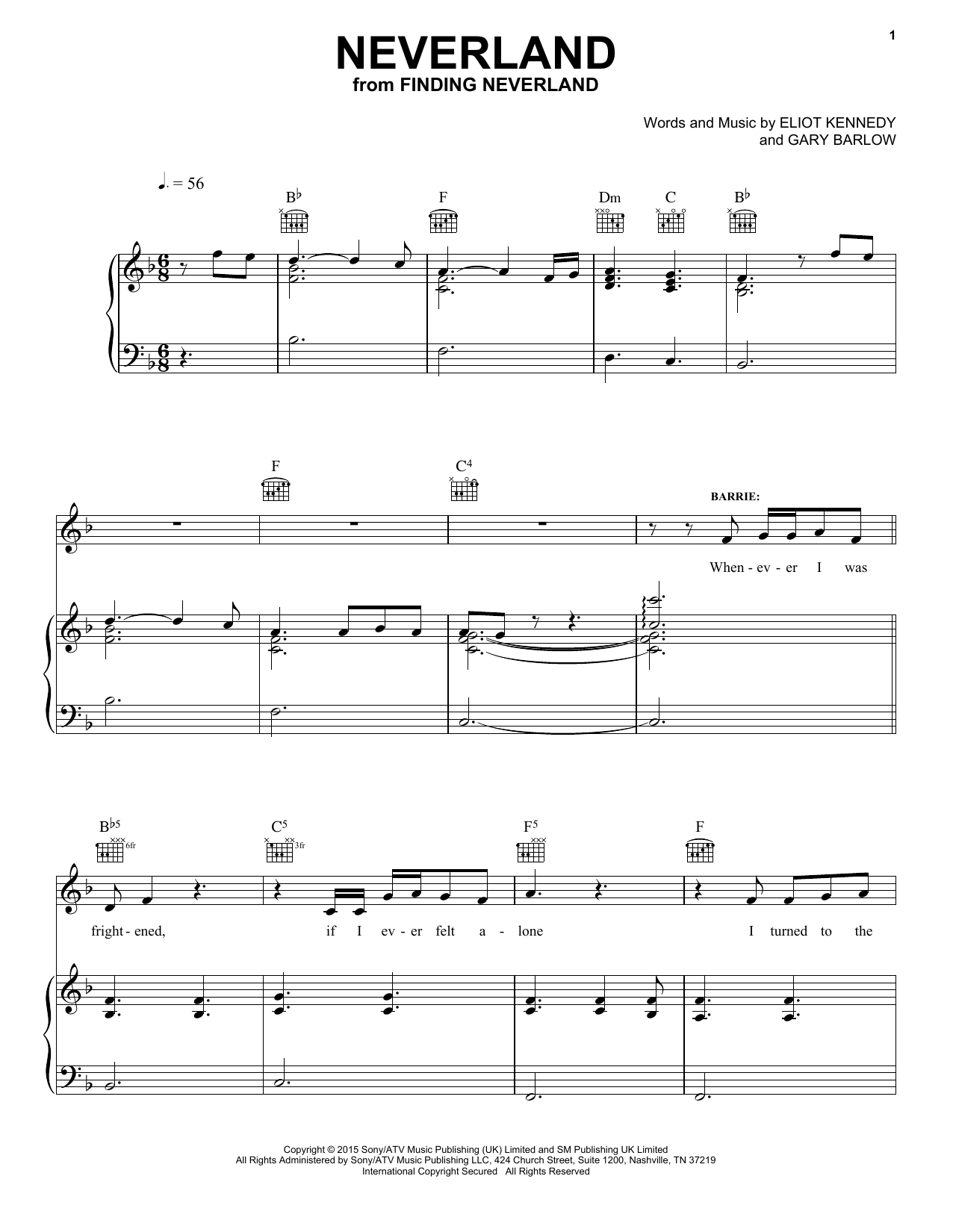Partition piano Neverland (from 'Finding Neverland') de Gary Barlow & Eliot Kennedy - Piano Voix Guitare (Mélodie Main Droite)