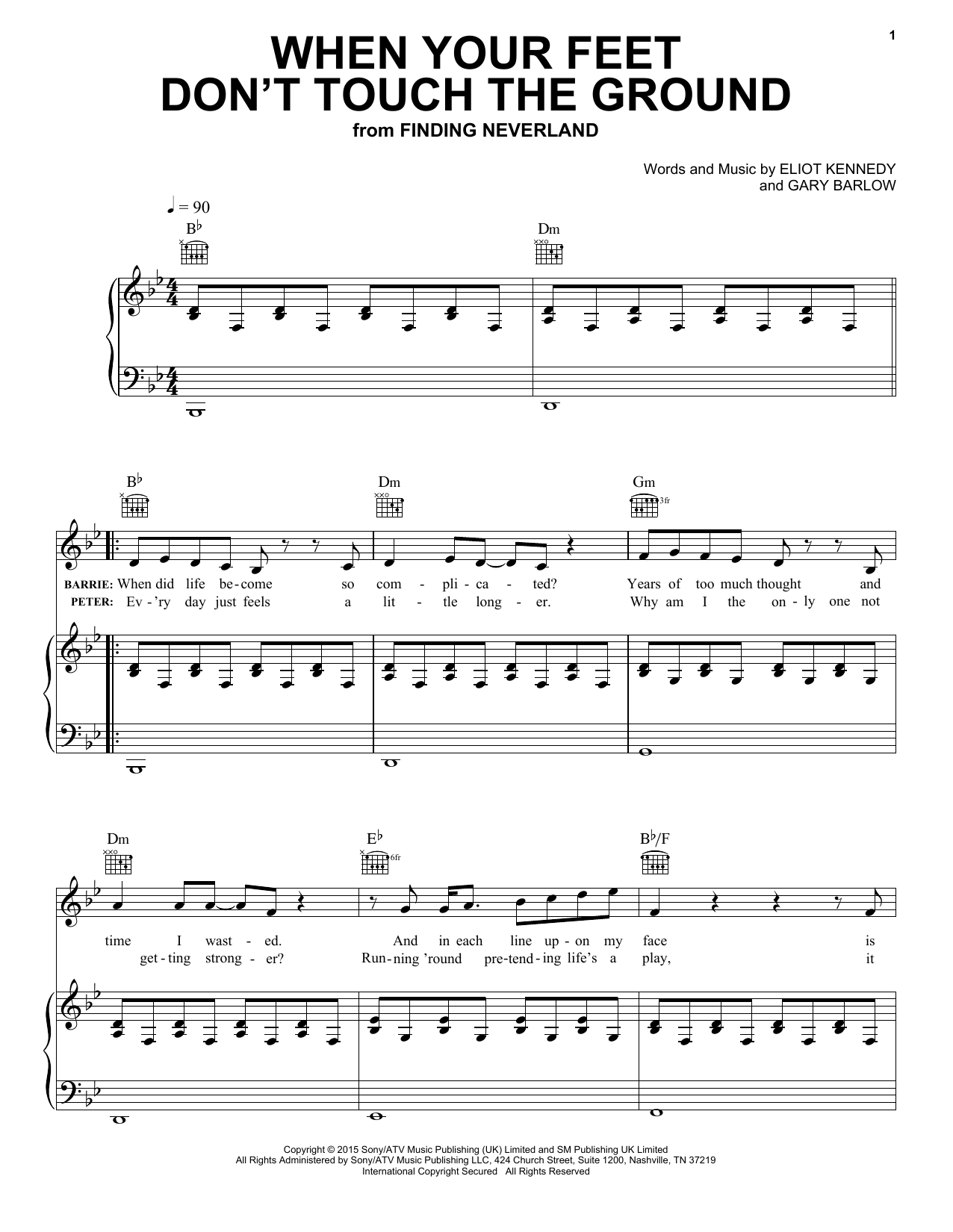 Partition piano When Your Feet Don't Touch The Ground de Eliot Kennedy - Piano Voix Guitare (Mélodie Main Droite)