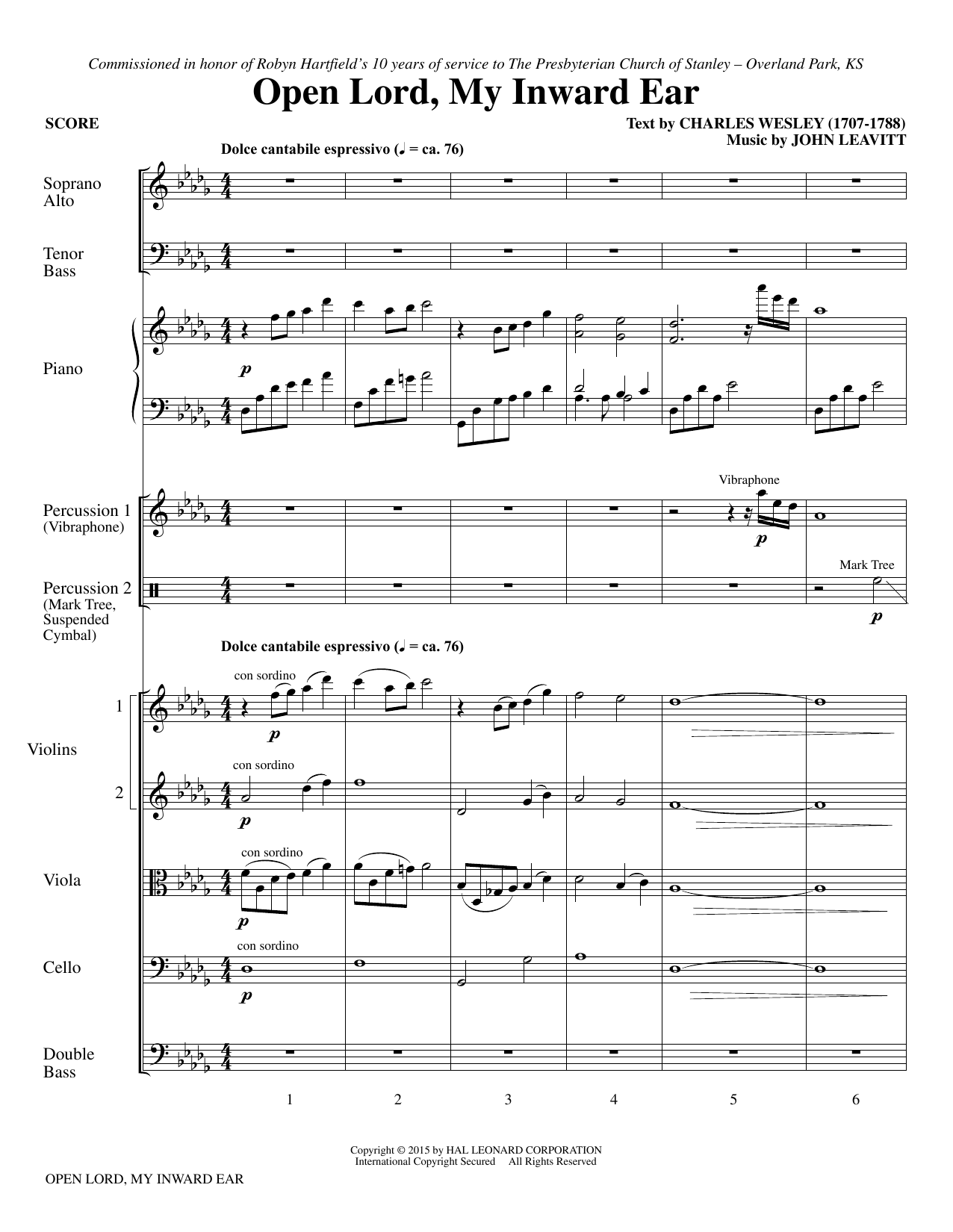 Open Lord, My Inward Ear (COMPLETE) sheet music for orchestra/band by John Leavitt