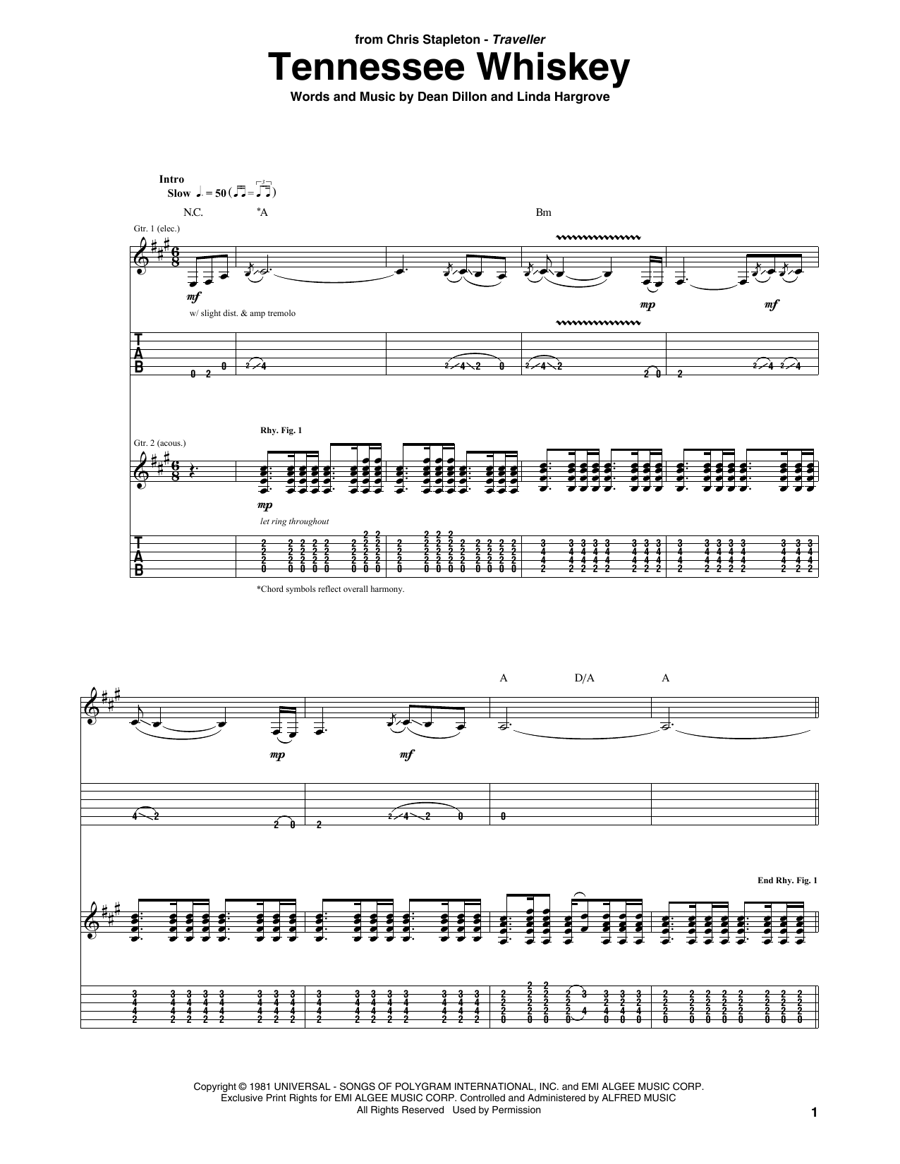 Tablature guitare (Smooth As) Tennessee Whiskey de Chris Stapleton - Tablature Guitare