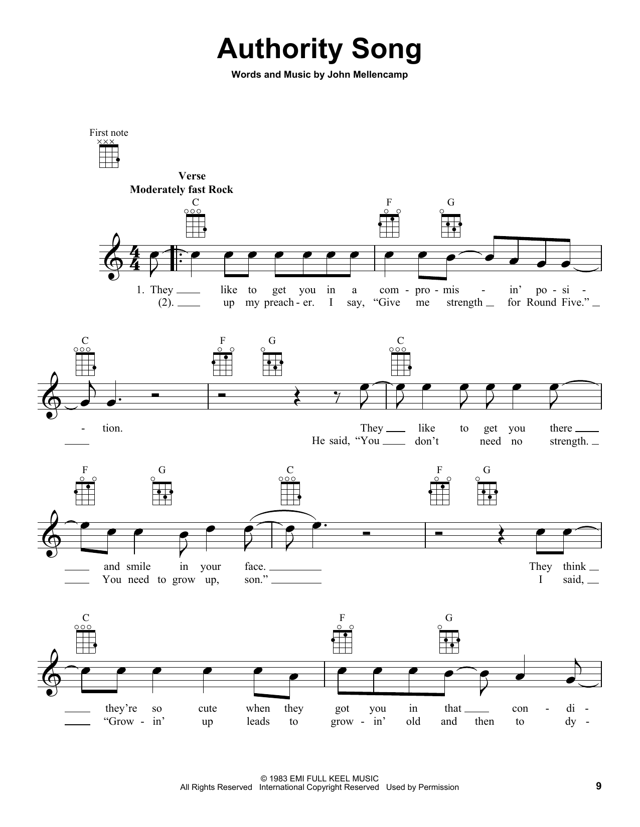 Tablature guitare Authority Song de John Mellencamp - Ukulele