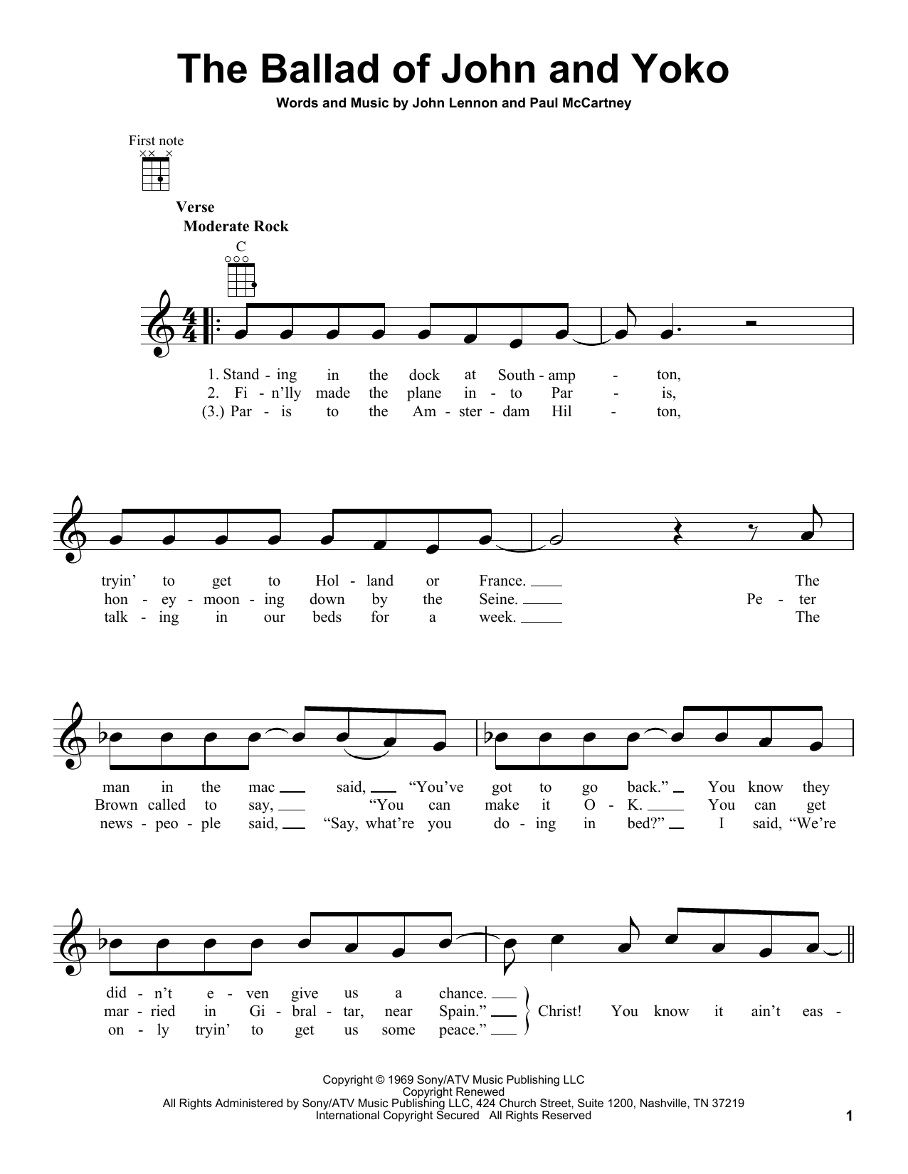 Tablature guitare The Ballad Of John And Yoko de The Beatles - Ukulele