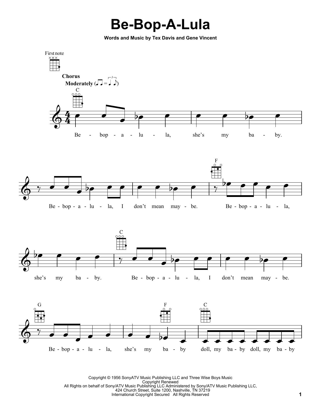 Tablature guitare Be-Bop-A-Lula de Gene Vincent & Tex Davis - Ukulele