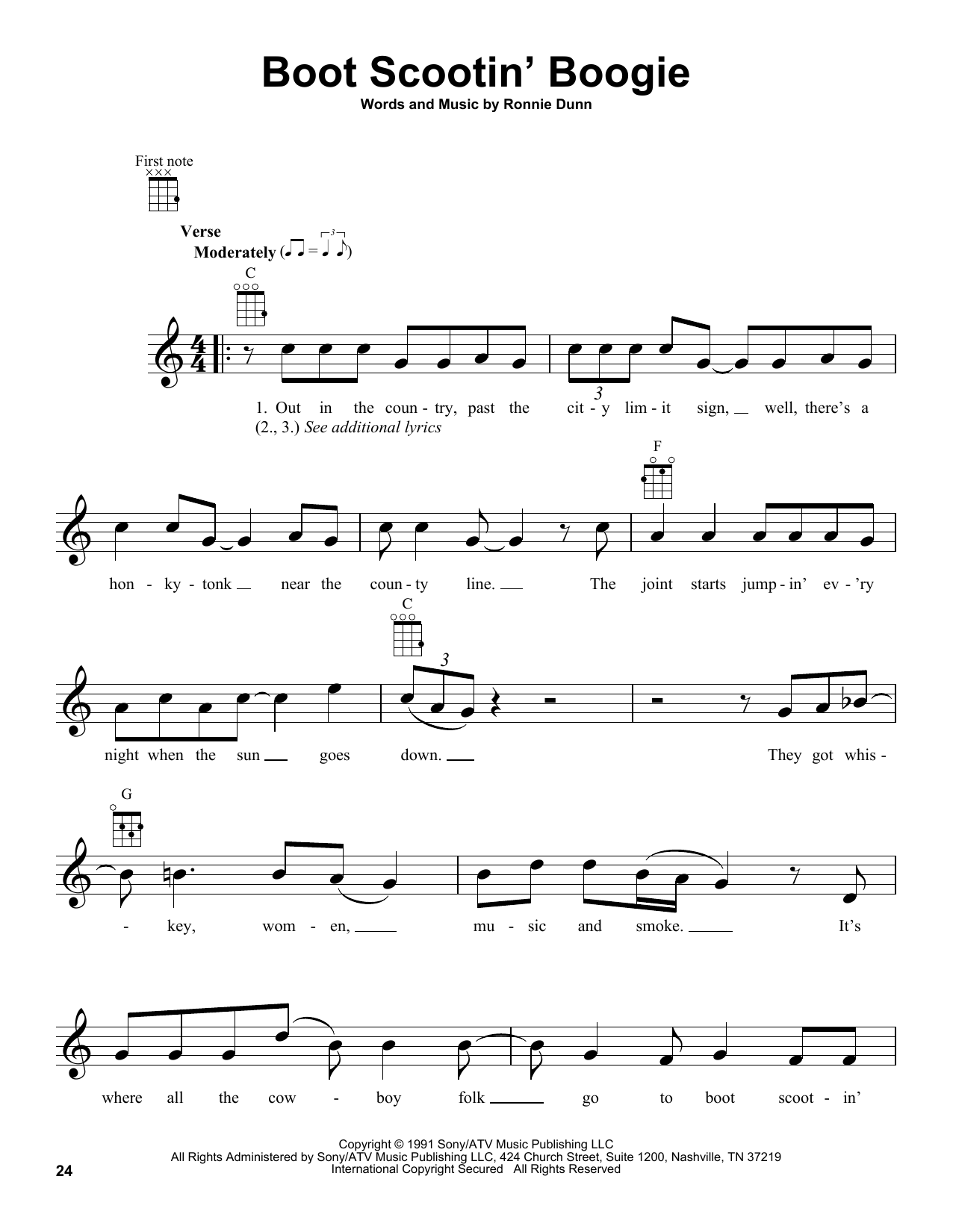 Tablature guitare Boot Scootin' Boogie de Brooks & Dunn - Ukulele