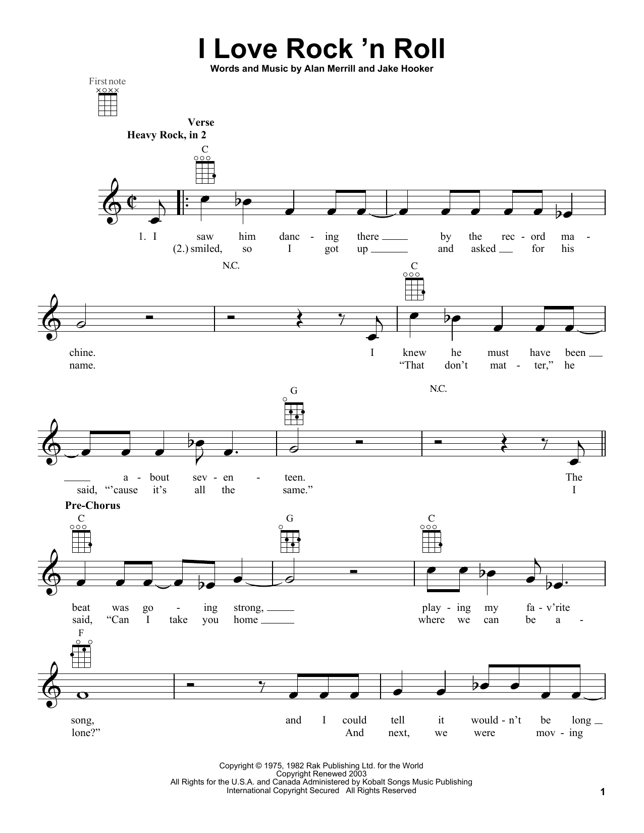 Tablature guitare I Love Rock 'N Roll de Joan Jett & The Blackhearts - Ukulele