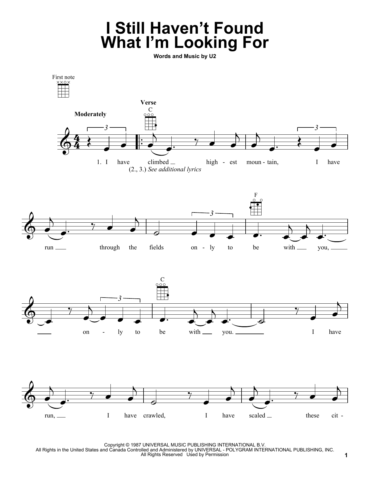 Tablature guitare I Still Haven't Found What I'm Looking For de U2 - Ukulele