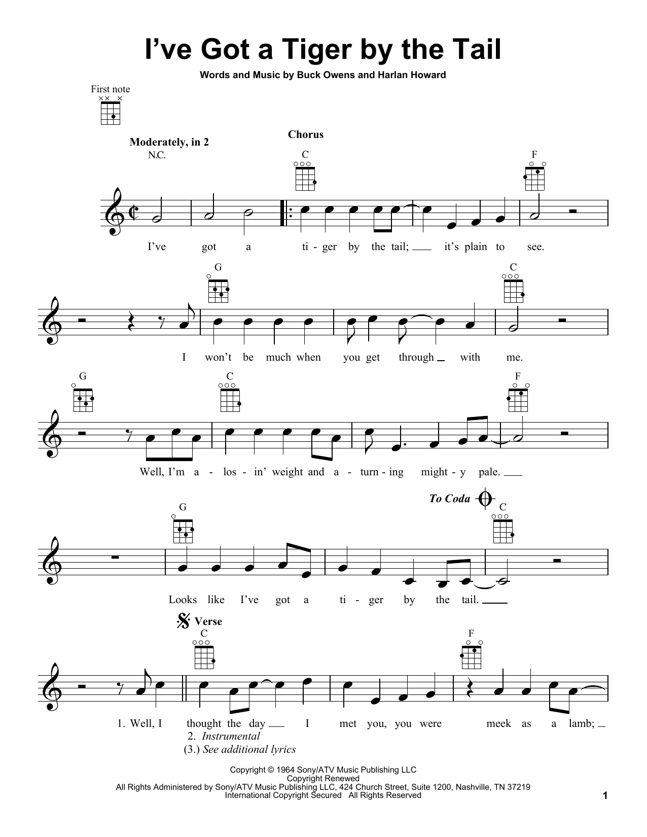 Tablature guitare I've Got A Tiger By The Tail de Buck Owens - Ukulele