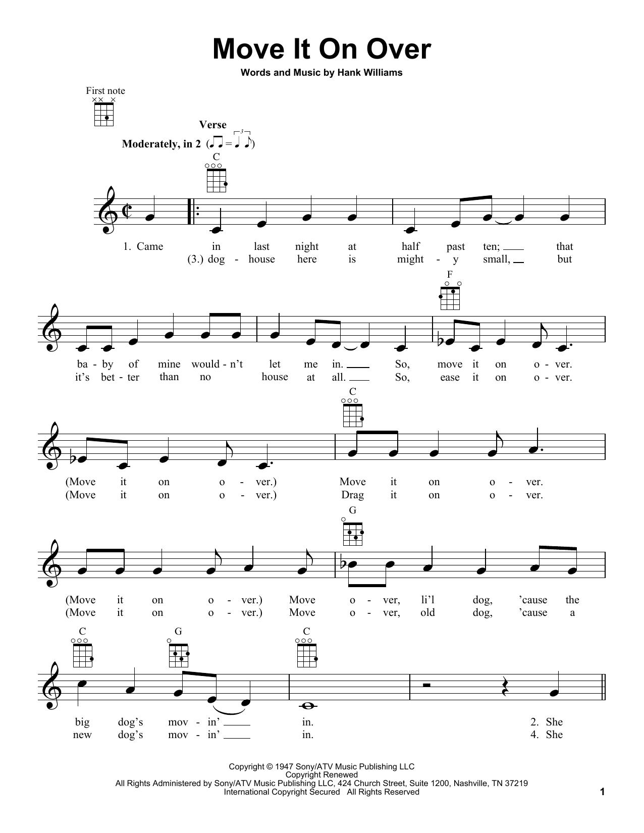 Tablature guitare Move It On Over de Hank Williams - Ukulele