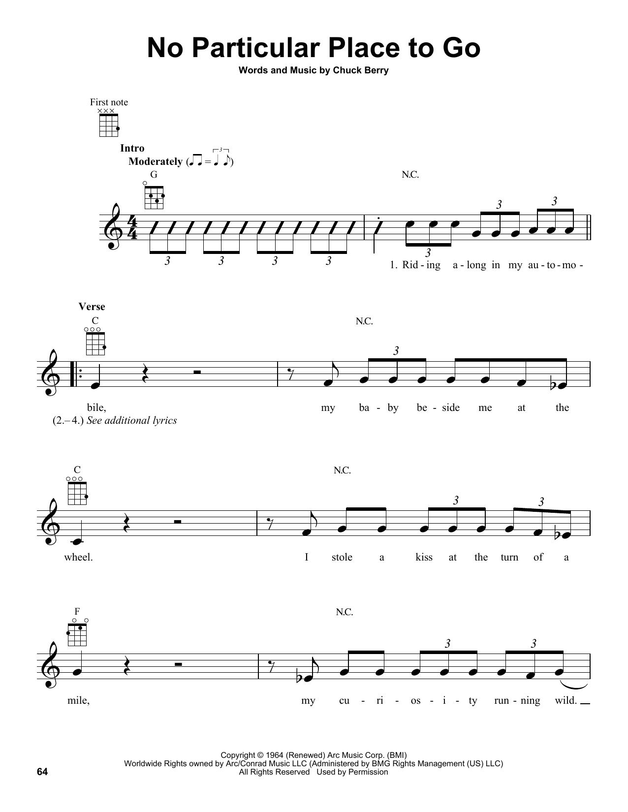 Tablature guitare No Particular Place To Go de Chuck Berry - Ukulele