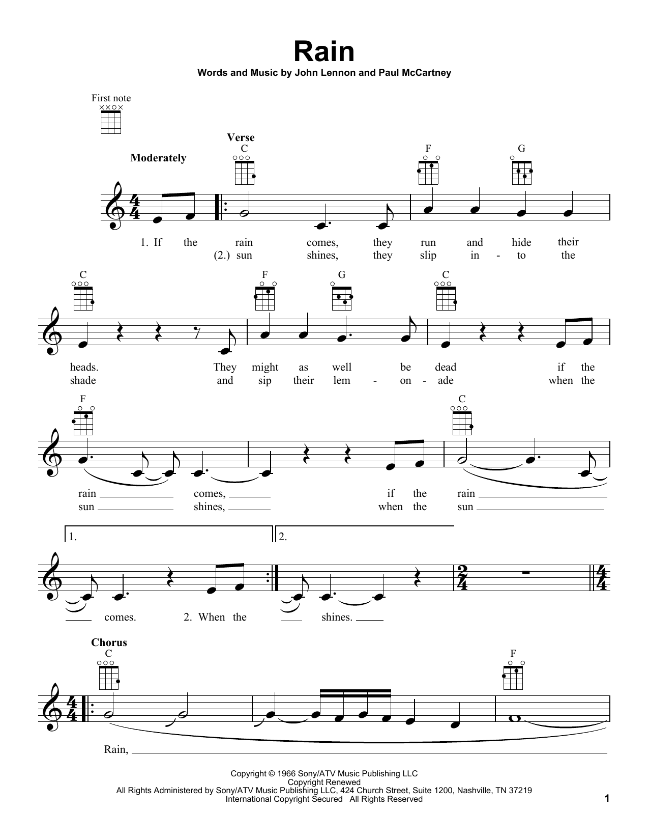 Tablature guitare Rain de The Beatles - Ukulele
