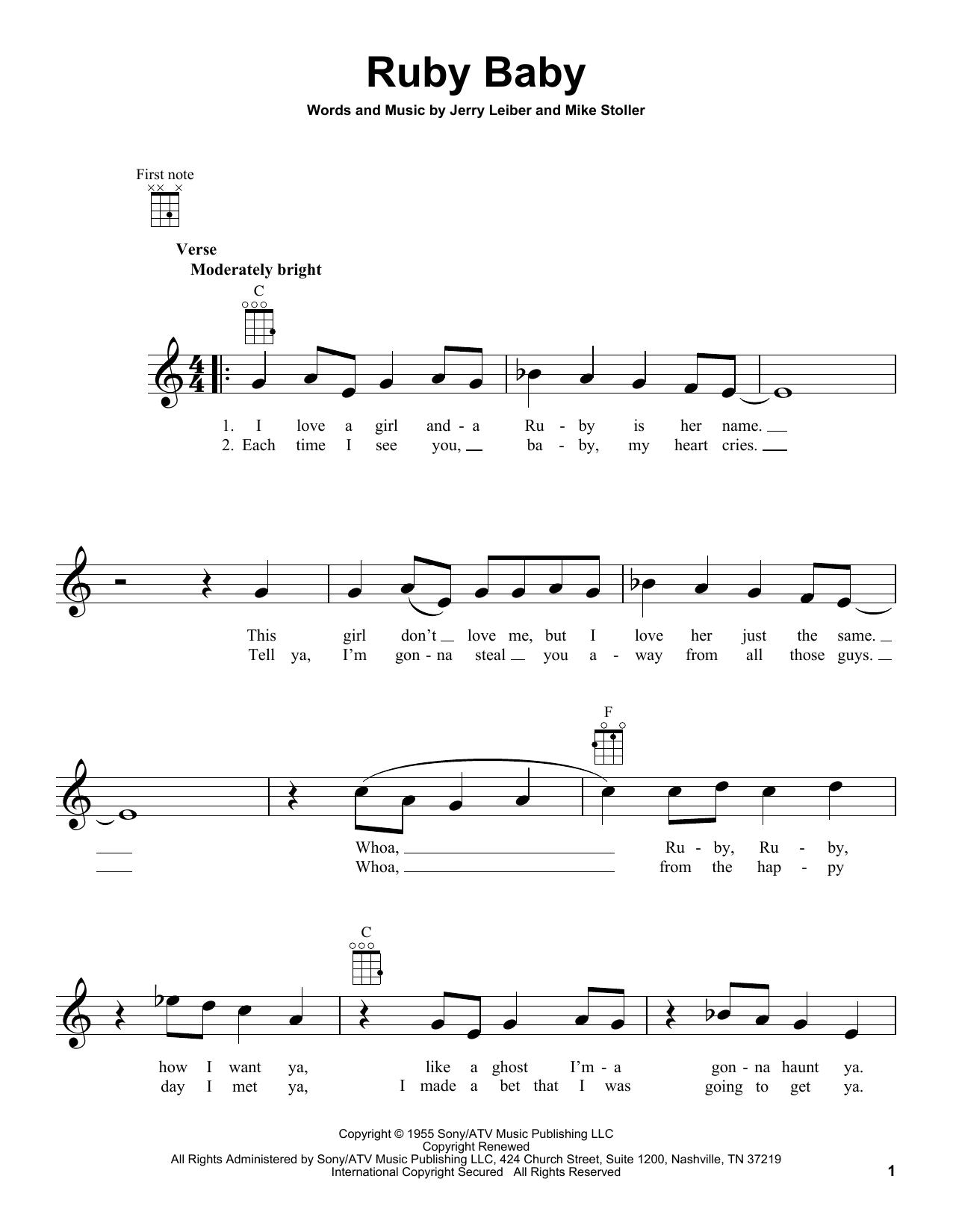 Tablature guitare Ruby Baby de The Drifters - Ukulele