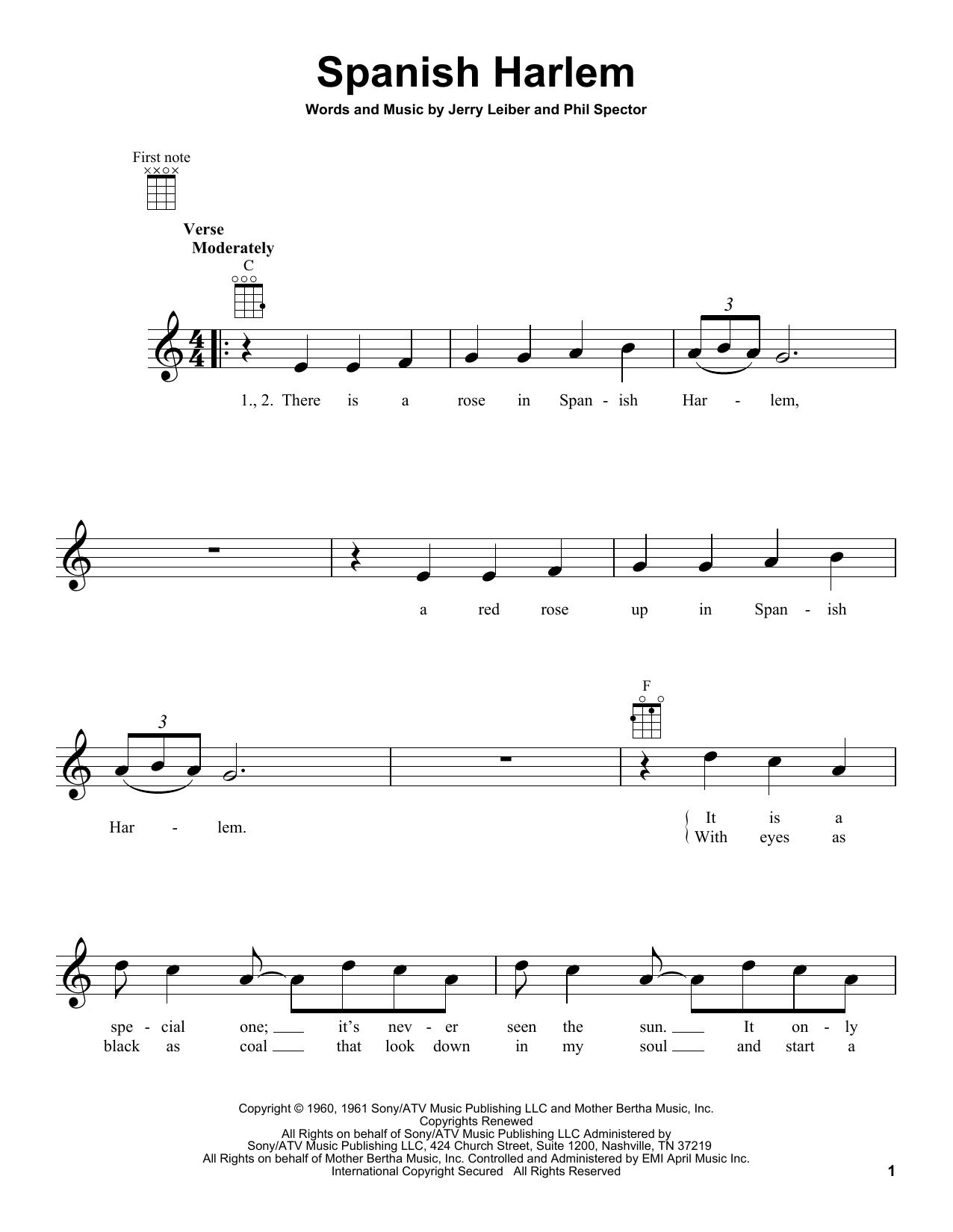 Tablature guitare Spanish Harlem de Ben E. King - Ukulele