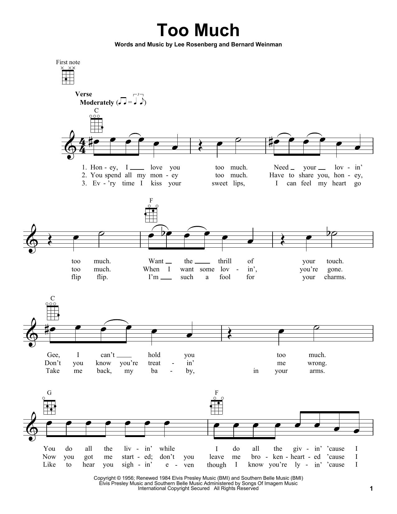 Tablature guitare Too Much de Elvis Presley - Ukulele